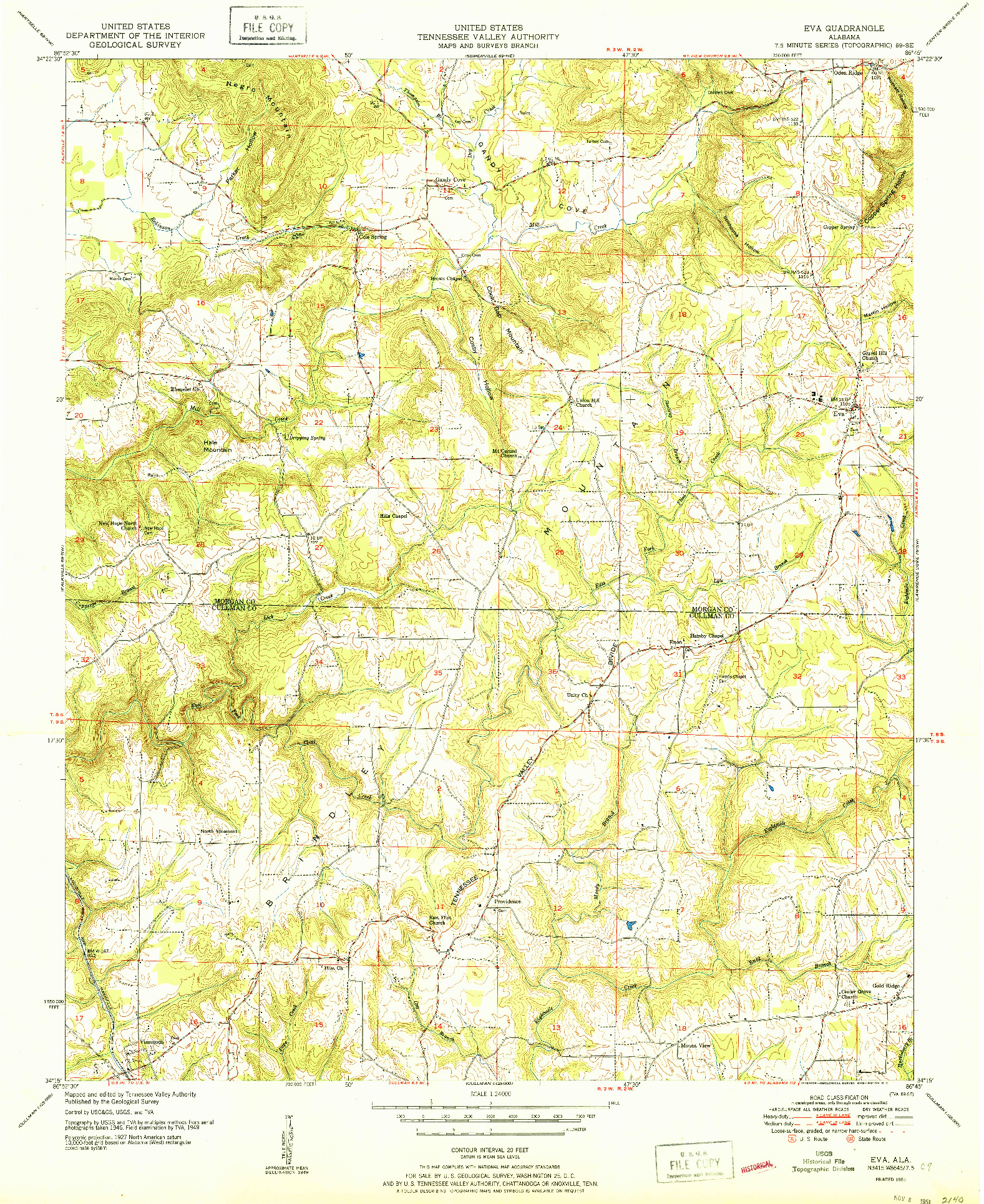 USGS 1:24000-SCALE QUADRANGLE FOR EVA, AL 1951