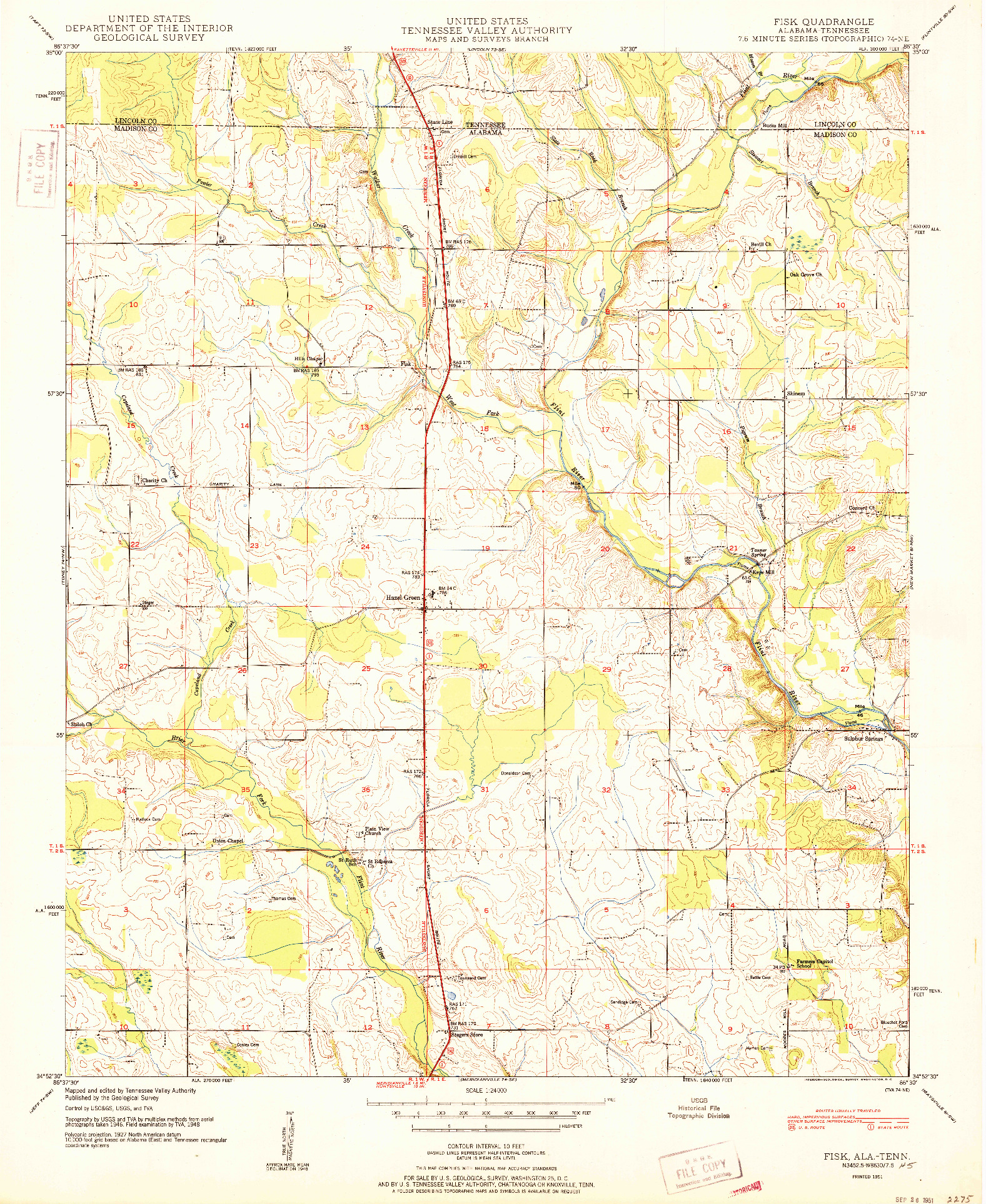 USGS 1:24000-SCALE QUADRANGLE FOR FISK, AL 1951