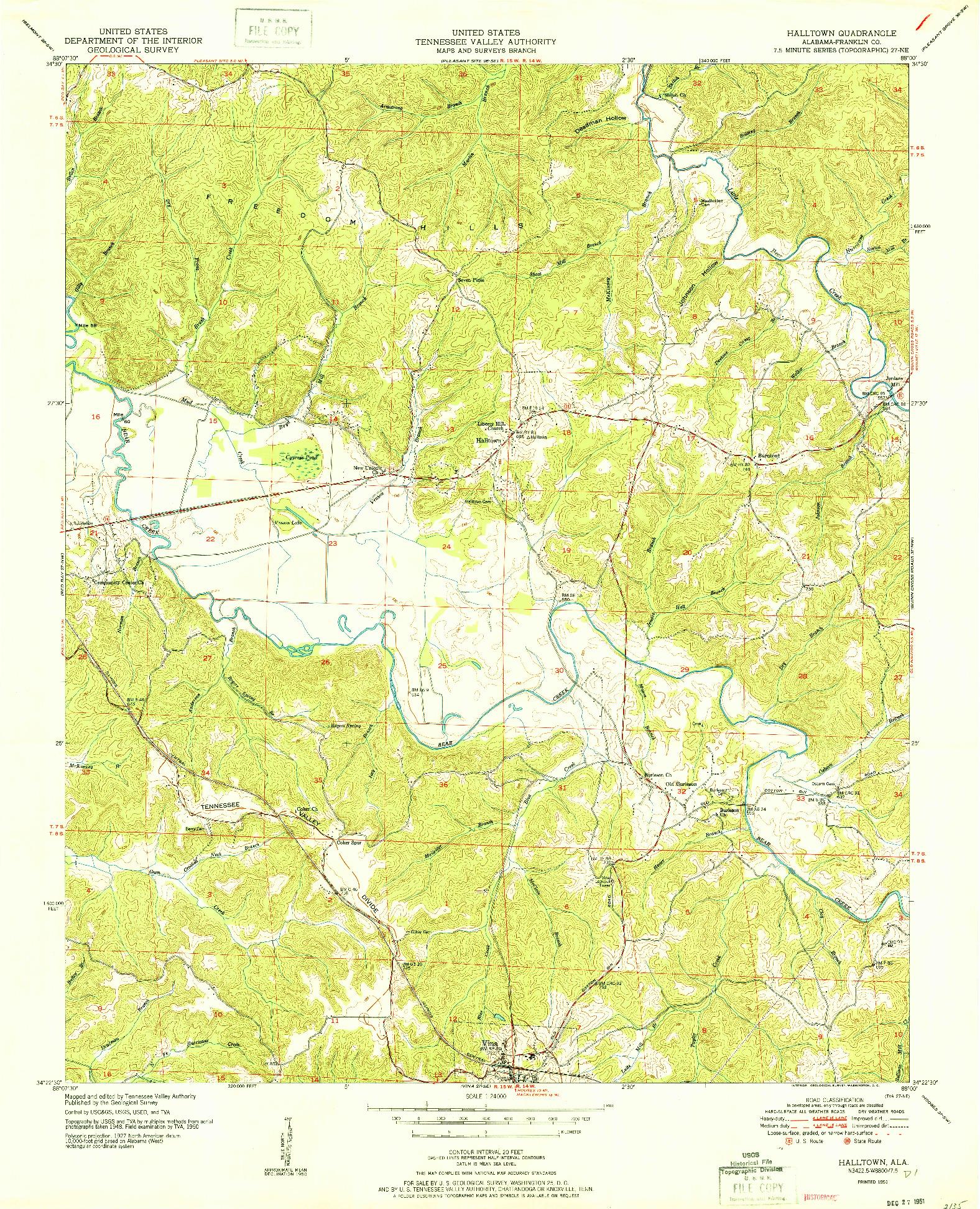 USGS 1:24000-SCALE QUADRANGLE FOR HALLTOWN, AL 1951