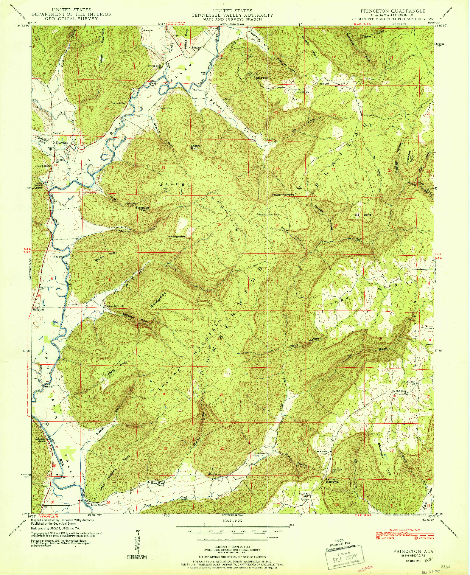 USGS 1:24000-SCALE QUADRANGLE FOR PRINCETON, AL 1951