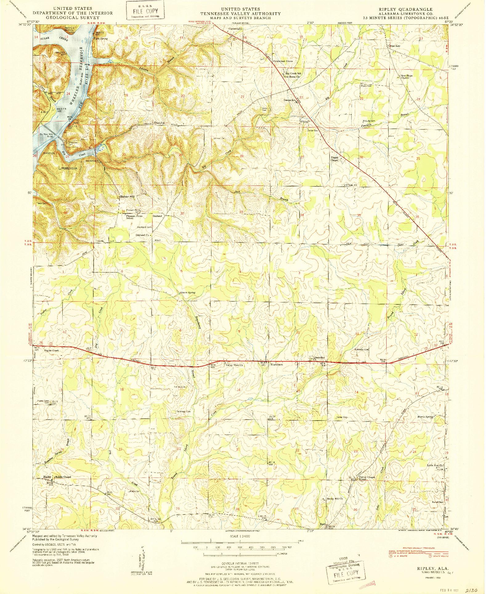 USGS 1:24000-SCALE QUADRANGLE FOR RIPLEY, AL 1951