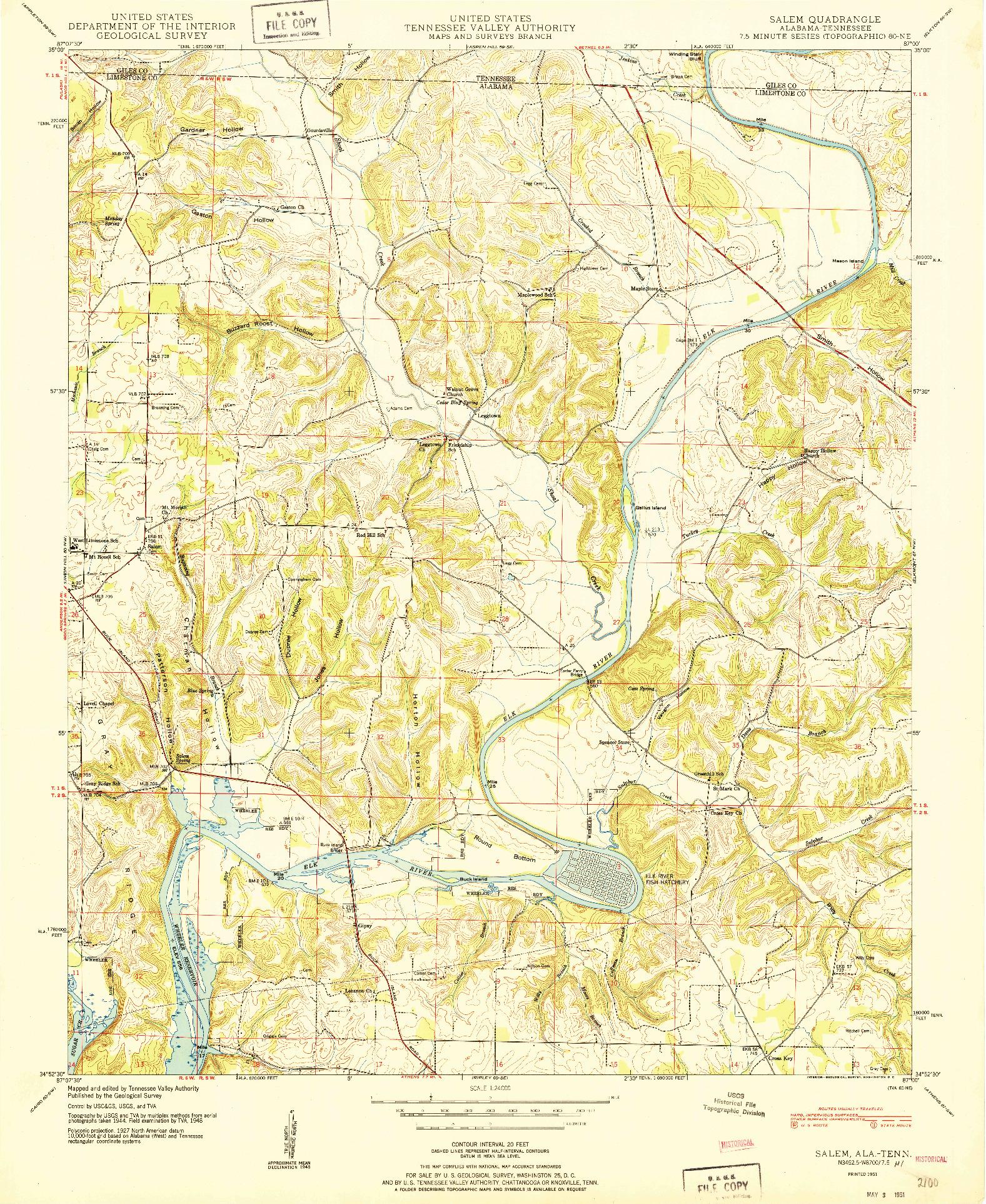 USGS 1:24000-SCALE QUADRANGLE FOR SALEM, AL 1951