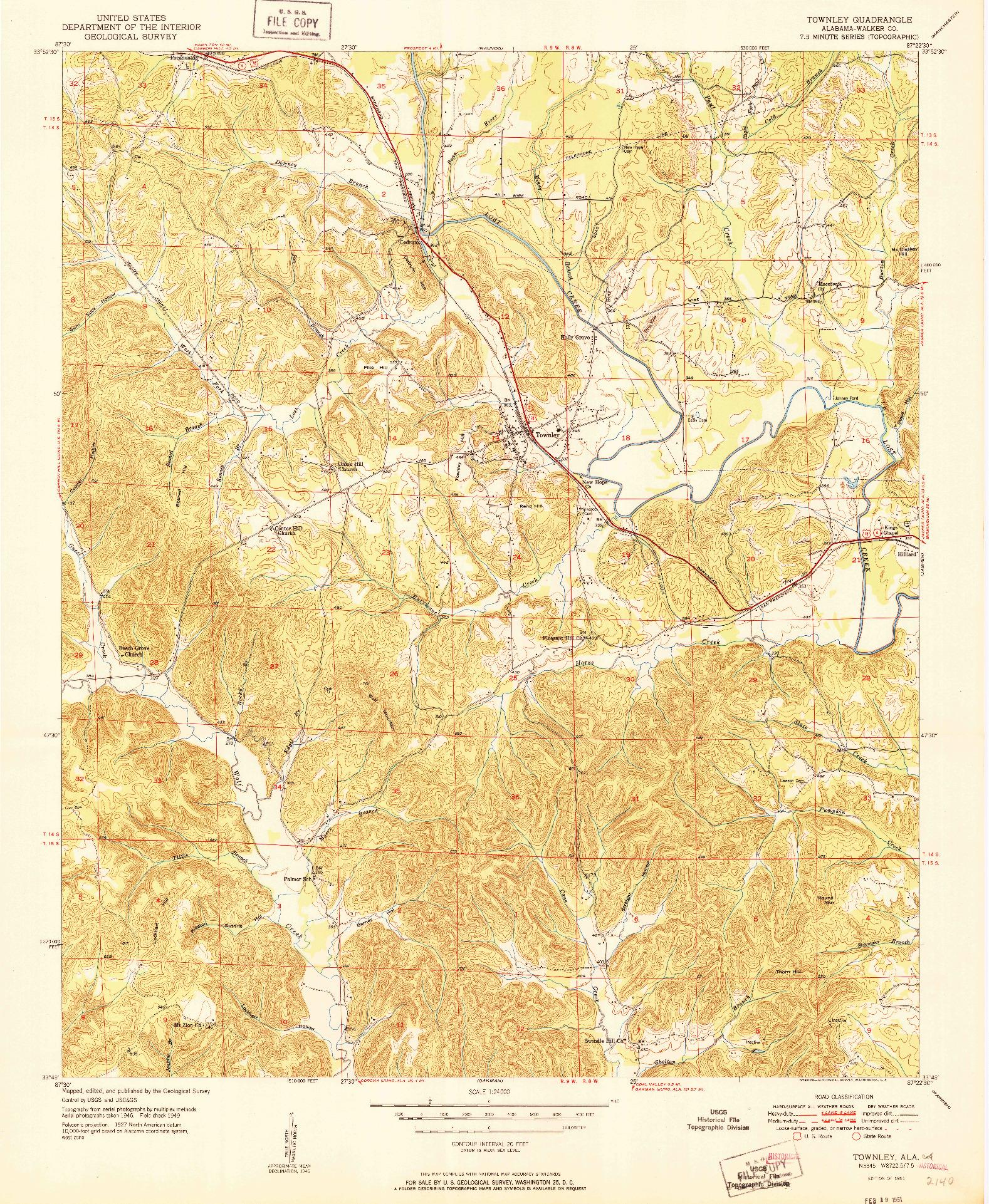 USGS 1:24000-SCALE QUADRANGLE FOR TOWNLEY, AL 1951