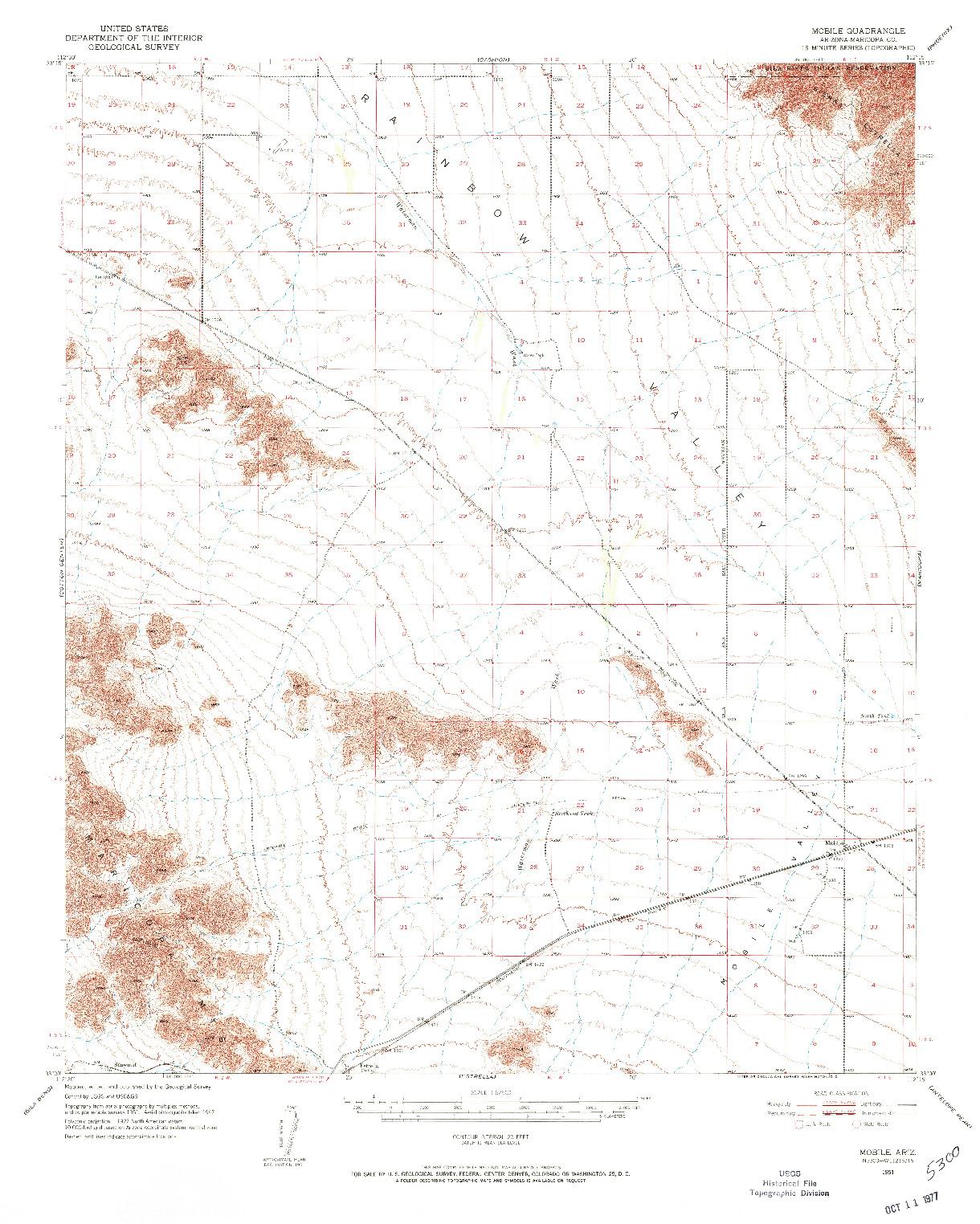 USGS 1:62500-SCALE QUADRANGLE FOR MOBILE, AZ 1951