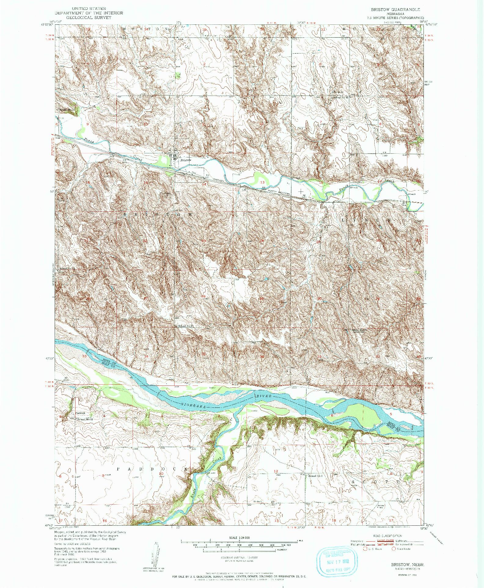 USGS 1:24000-SCALE QUADRANGLE FOR BRISTOW, NE 1951