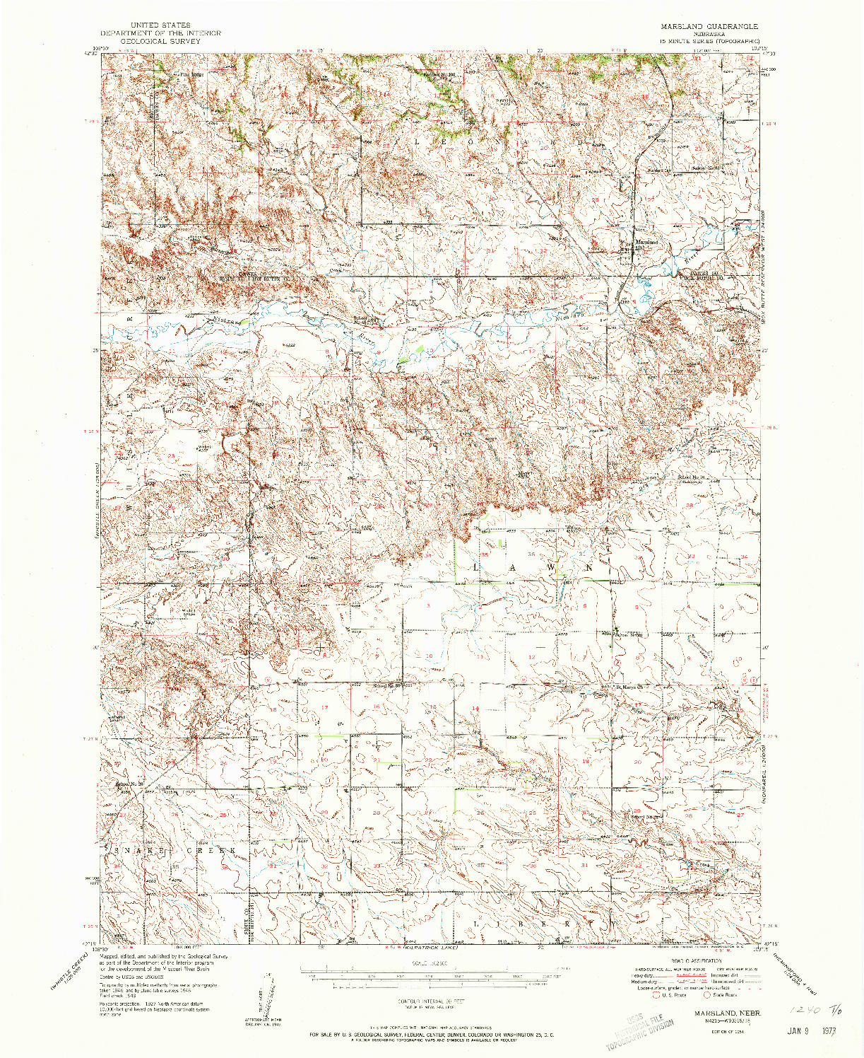 USGS 1:62500-SCALE QUADRANGLE FOR MARSLAND, NE 1951