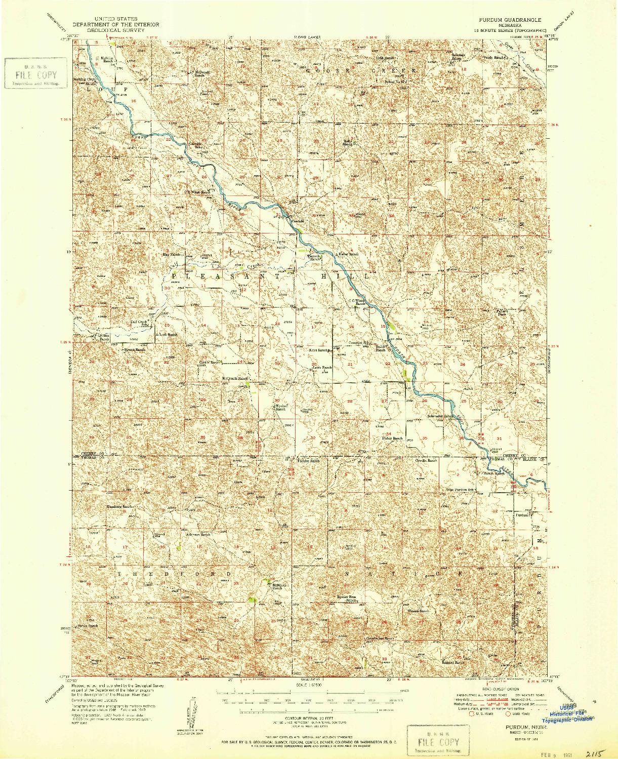 USGS 1:62500-SCALE QUADRANGLE FOR PURDUM, NE 1951