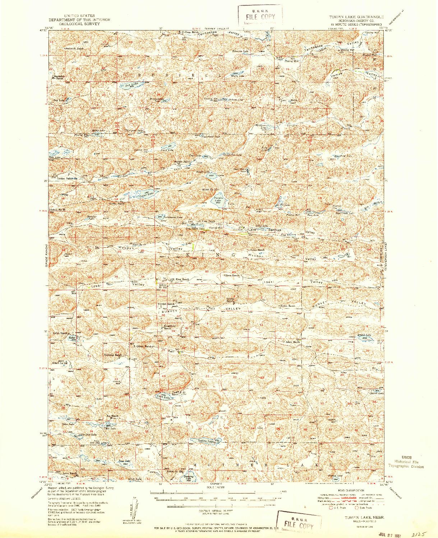 USGS 1:62500-SCALE QUADRANGLE FOR TURPIN LAKE, NE 1951