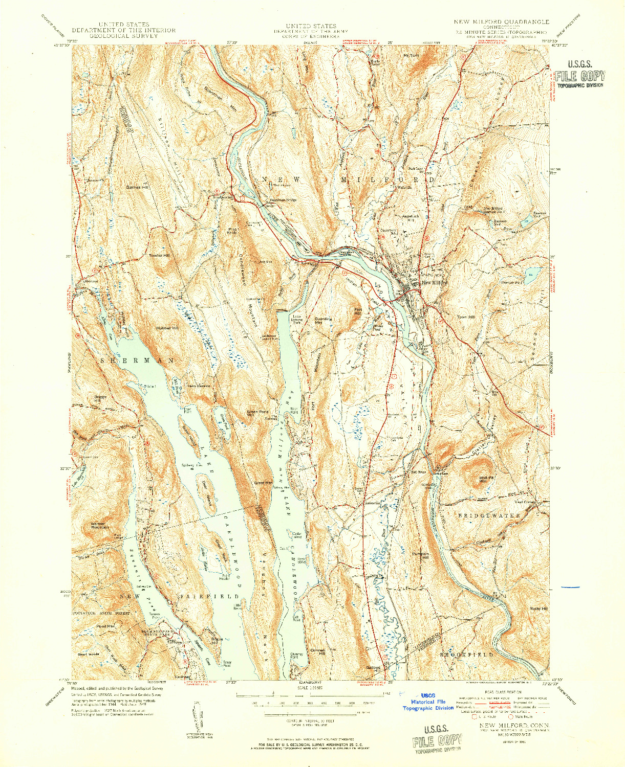 USGS 1:31680-SCALE QUADRANGLE FOR NEW MILFORD, CT 1951