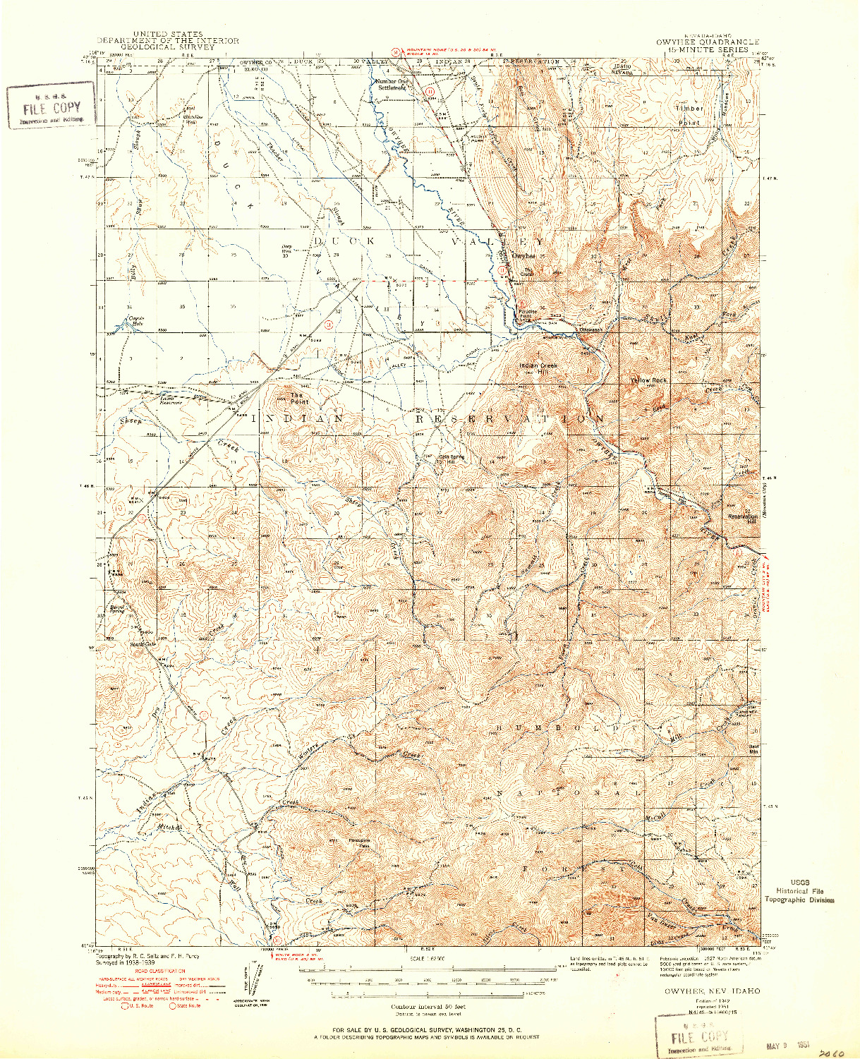 USGS 1:62500-SCALE QUADRANGLE FOR OWYHEE, NV 1942