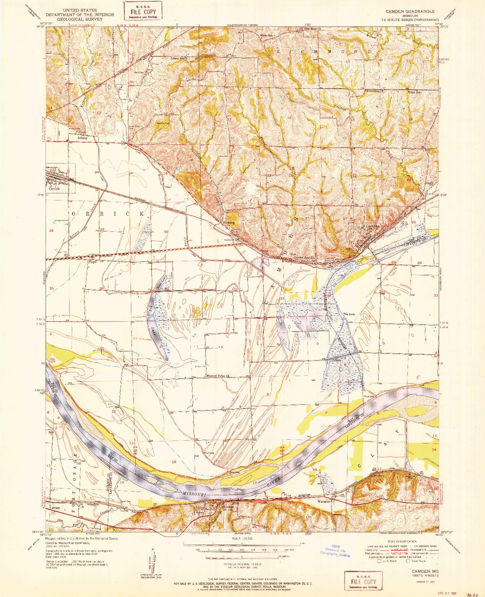 USGS 1:24000-SCALE QUADRANGLE FOR CAMDEN, MO 1951