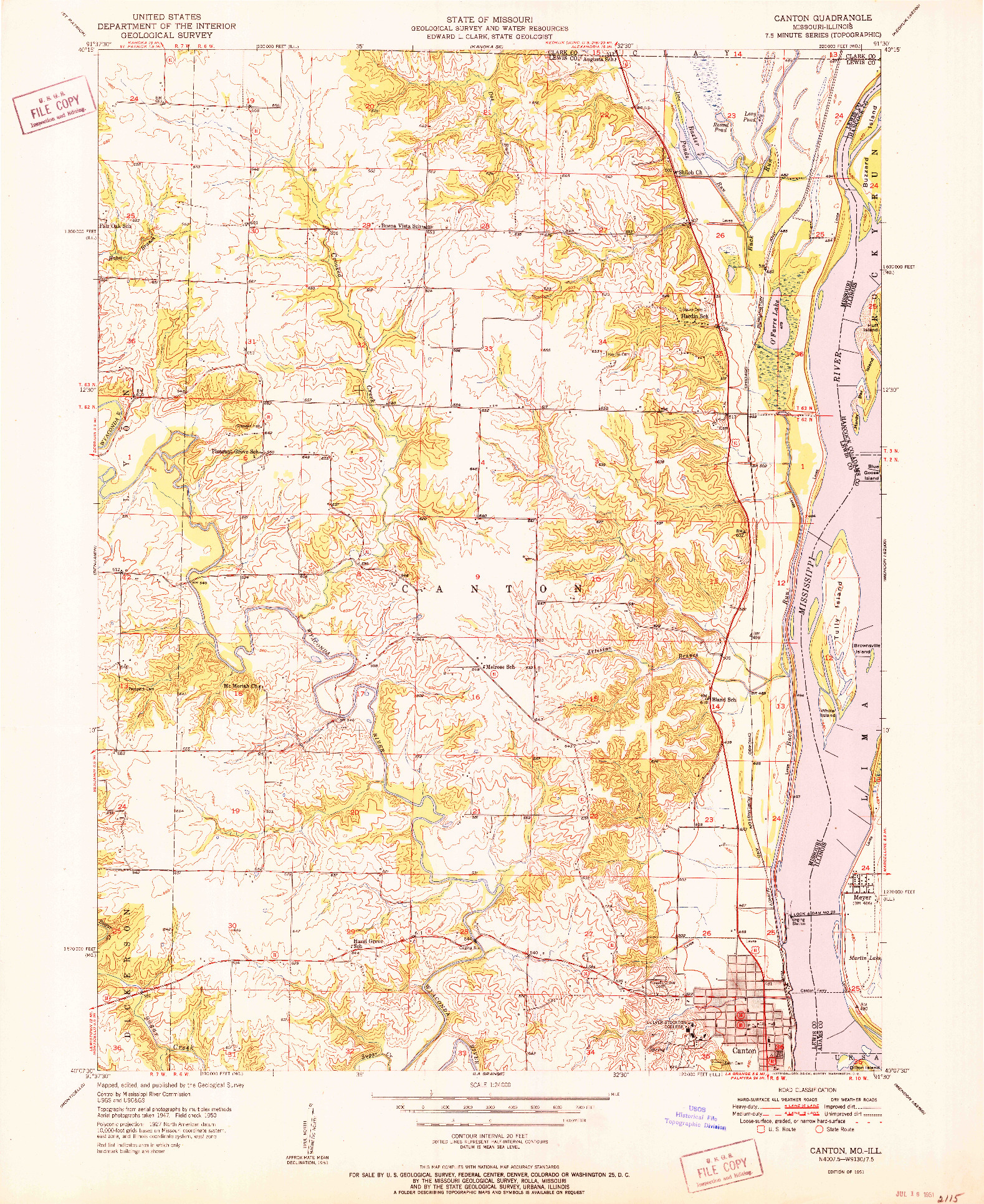 USGS 1:24000-SCALE QUADRANGLE FOR CANTON, MO 1951