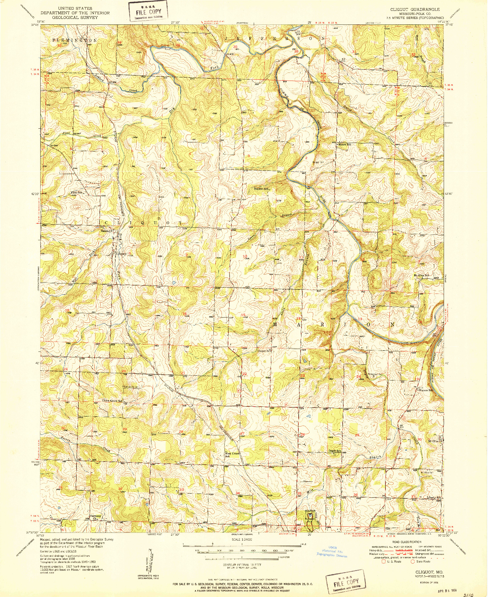 USGS 1:24000-SCALE QUADRANGLE FOR CLIQUOT, MO 1951