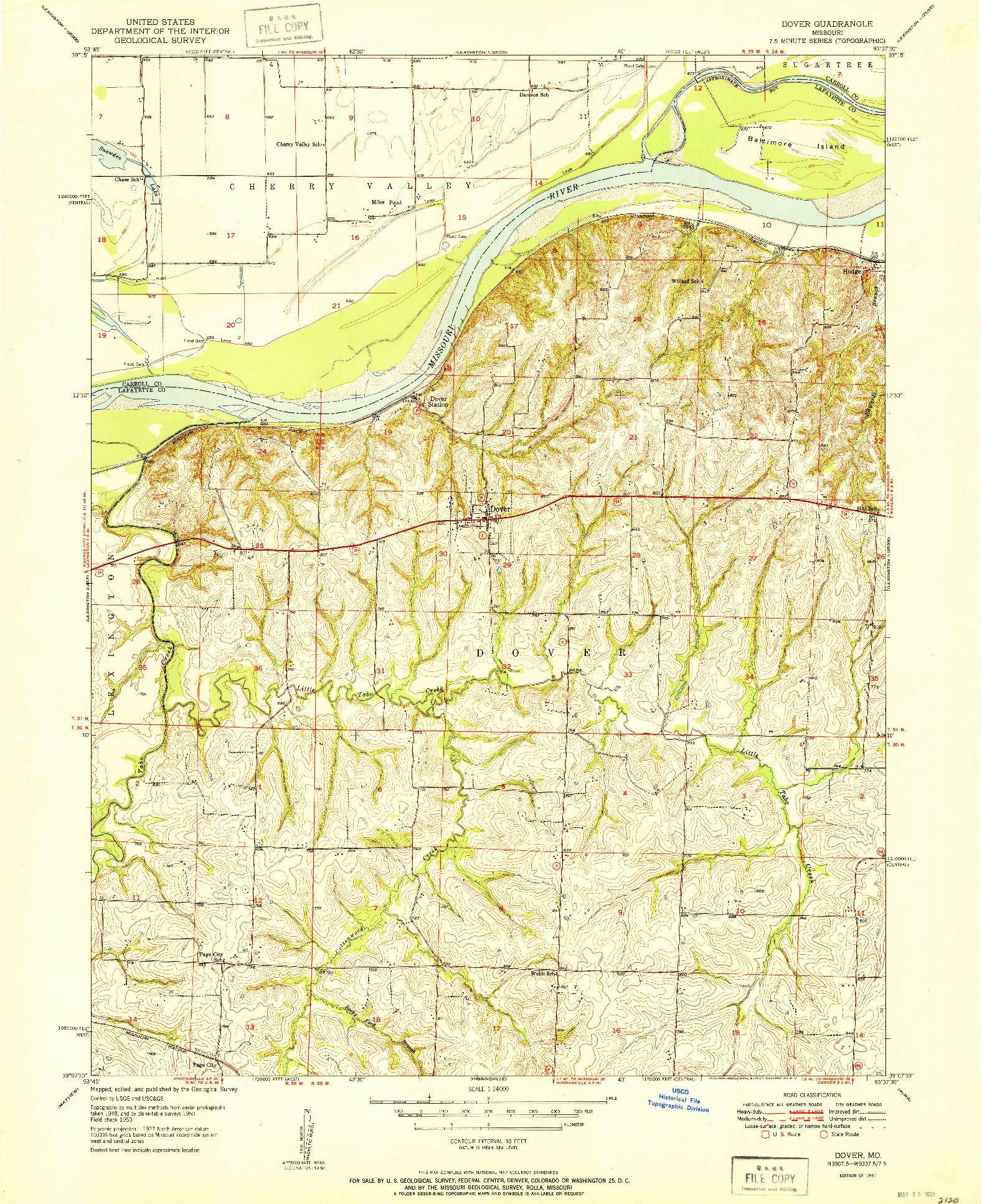 USGS 1:24000-SCALE QUADRANGLE FOR DOVER, MO 1951