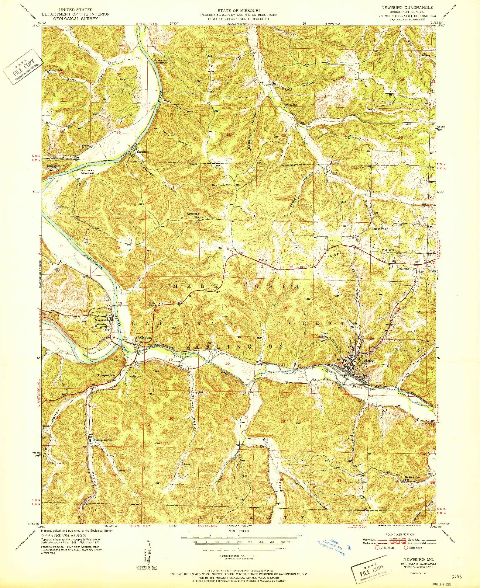 USGS 1:24000-SCALE QUADRANGLE FOR NEWBURG, MO 1951