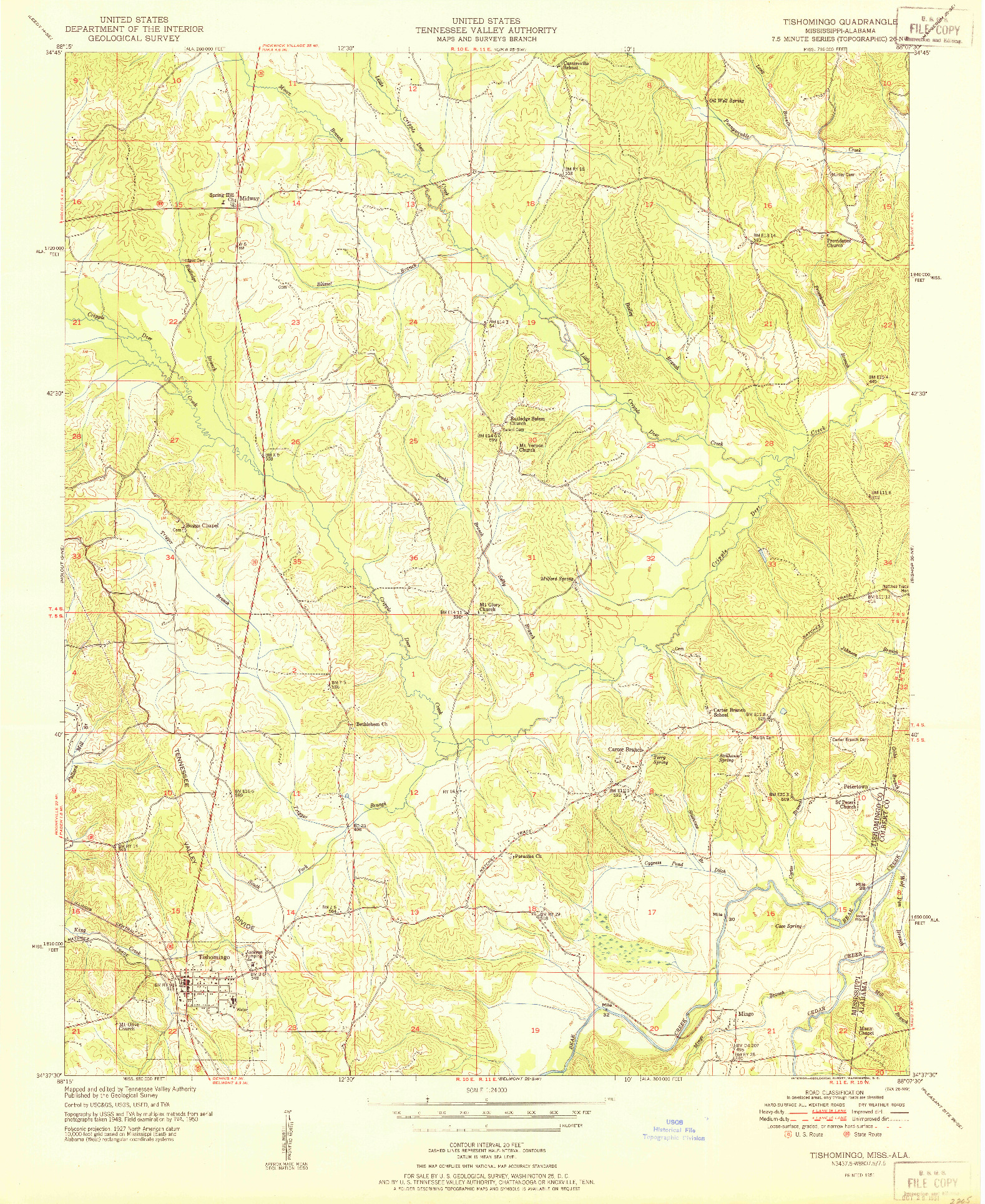 USGS 1:24000-SCALE QUADRANGLE FOR TISHOMINGO, MS 1951