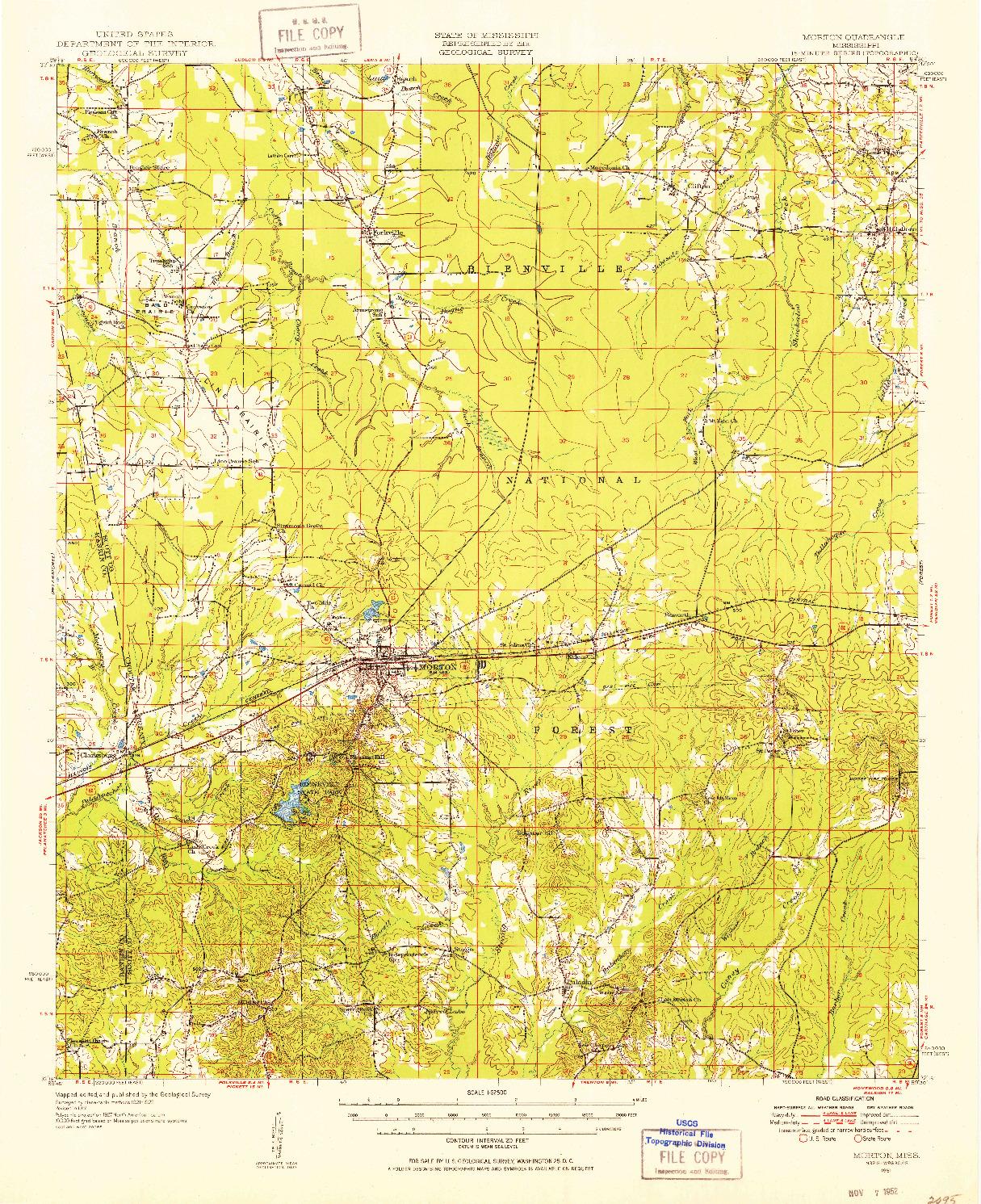 USGS 1:62500-SCALE QUADRANGLE FOR MORTON, MS 1951