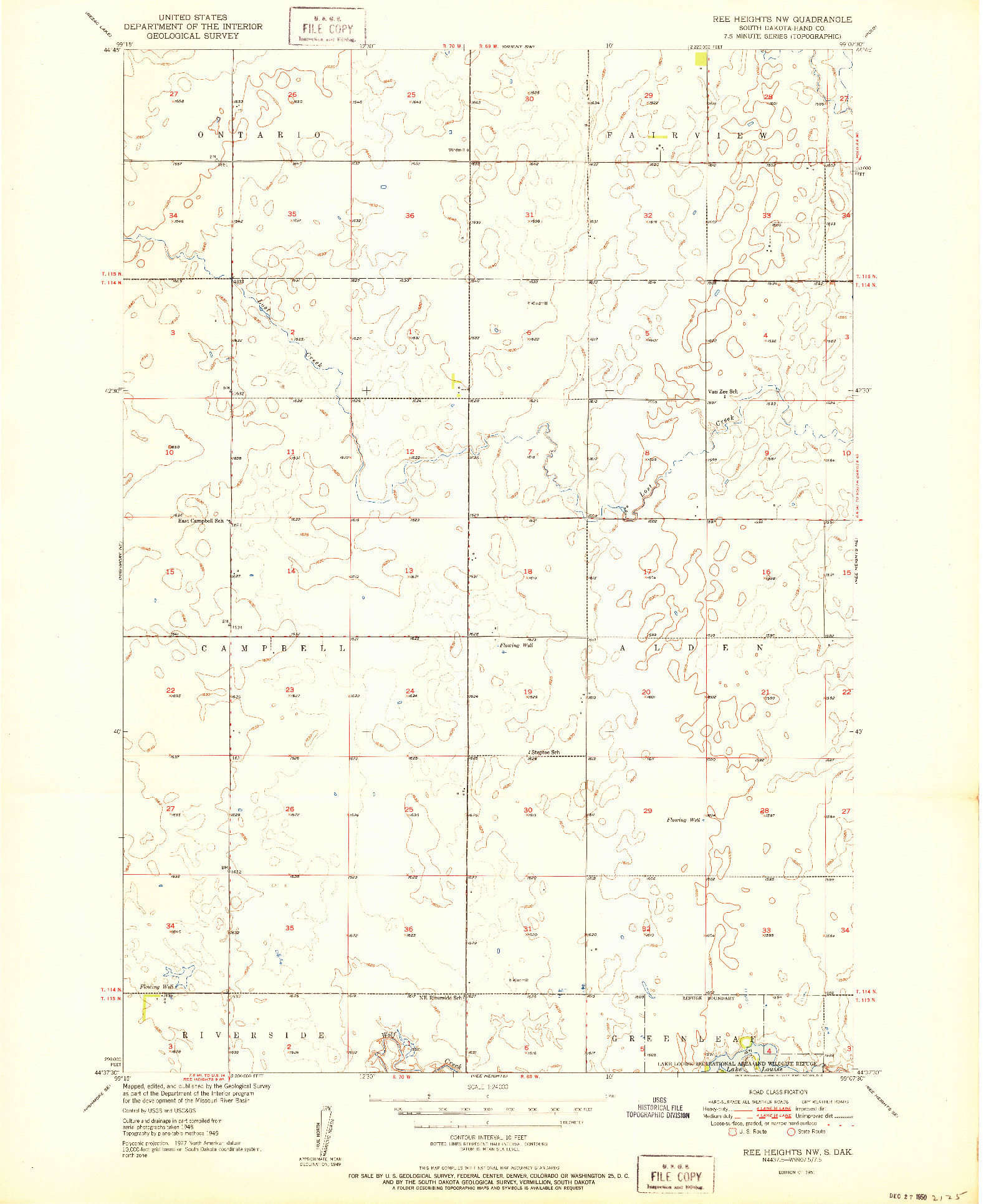 USGS 1:24000-SCALE QUADRANGLE FOR REE HEIGHTS NW, SD 1951