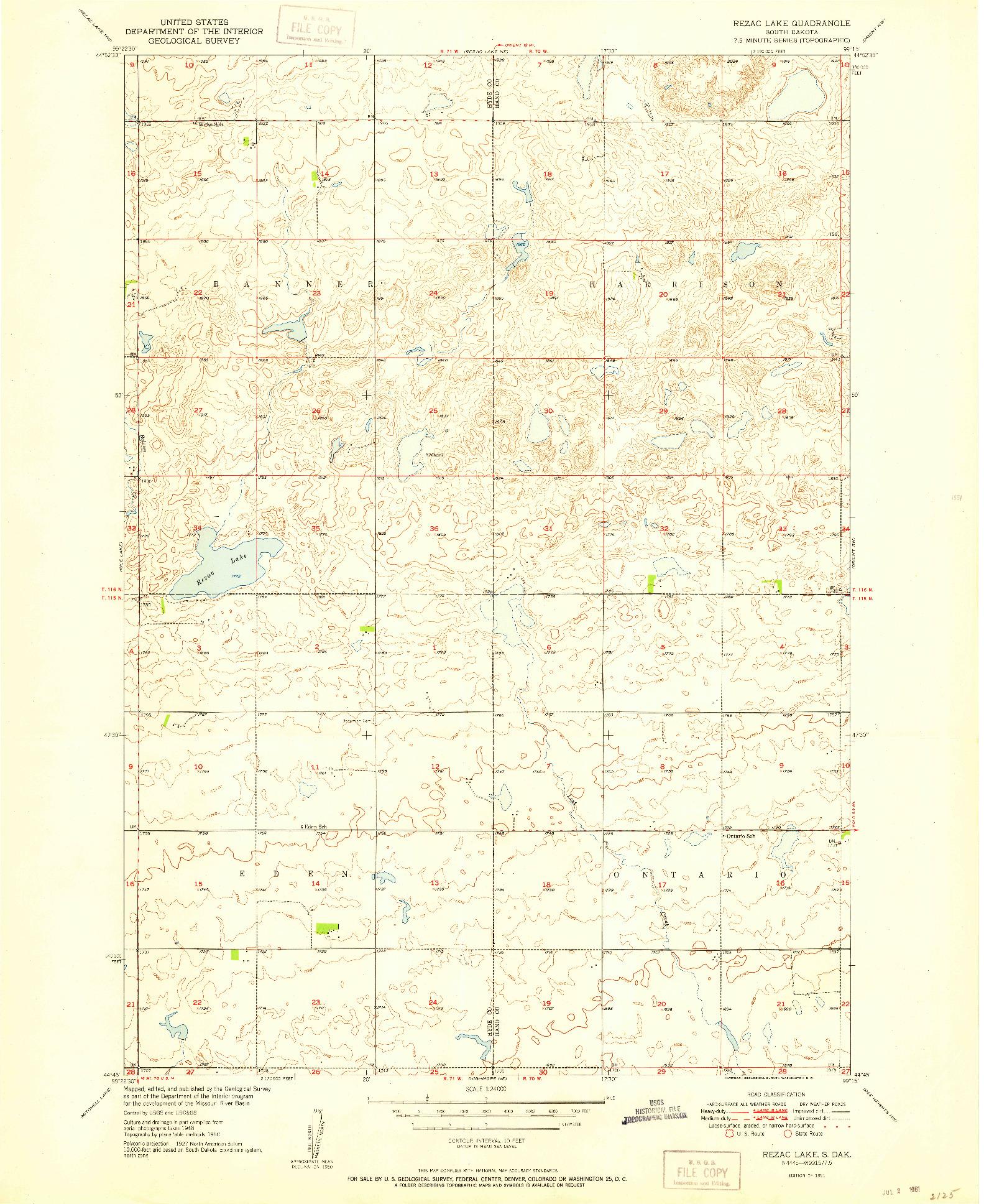 USGS 1:24000-SCALE QUADRANGLE FOR REZAC LAKE, SD 1951