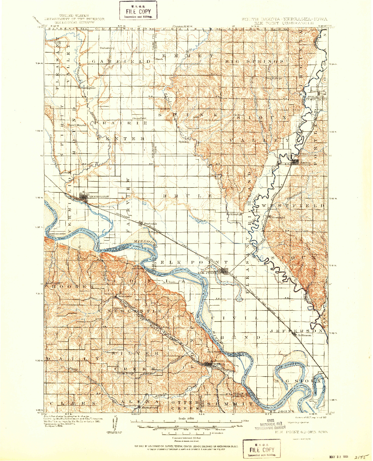 USGS 1:125000-SCALE QUADRANGLE FOR ELK POINT, SD 1907