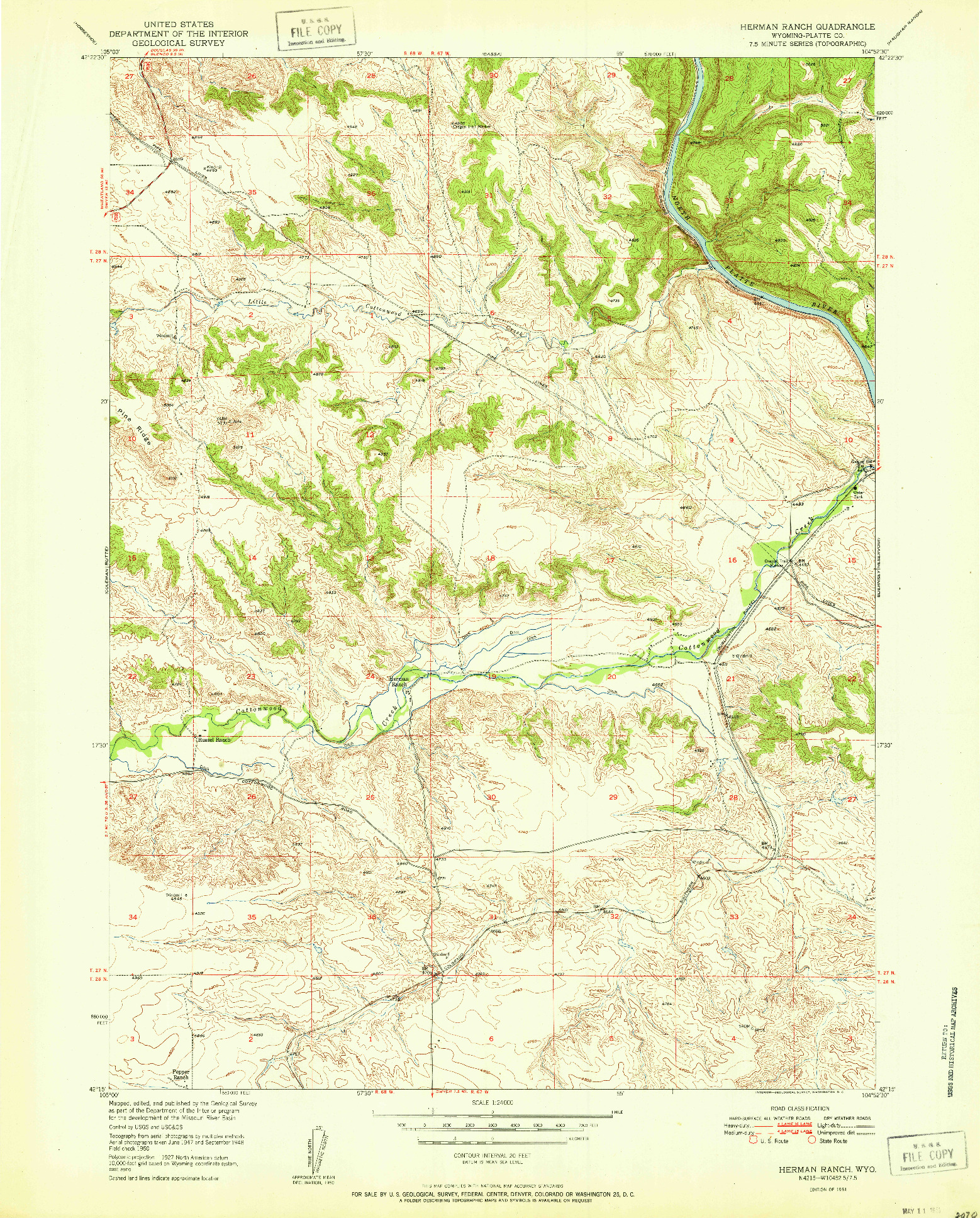 USGS 1:24000-SCALE QUADRANGLE FOR HERMAN RANCH, WY 1951