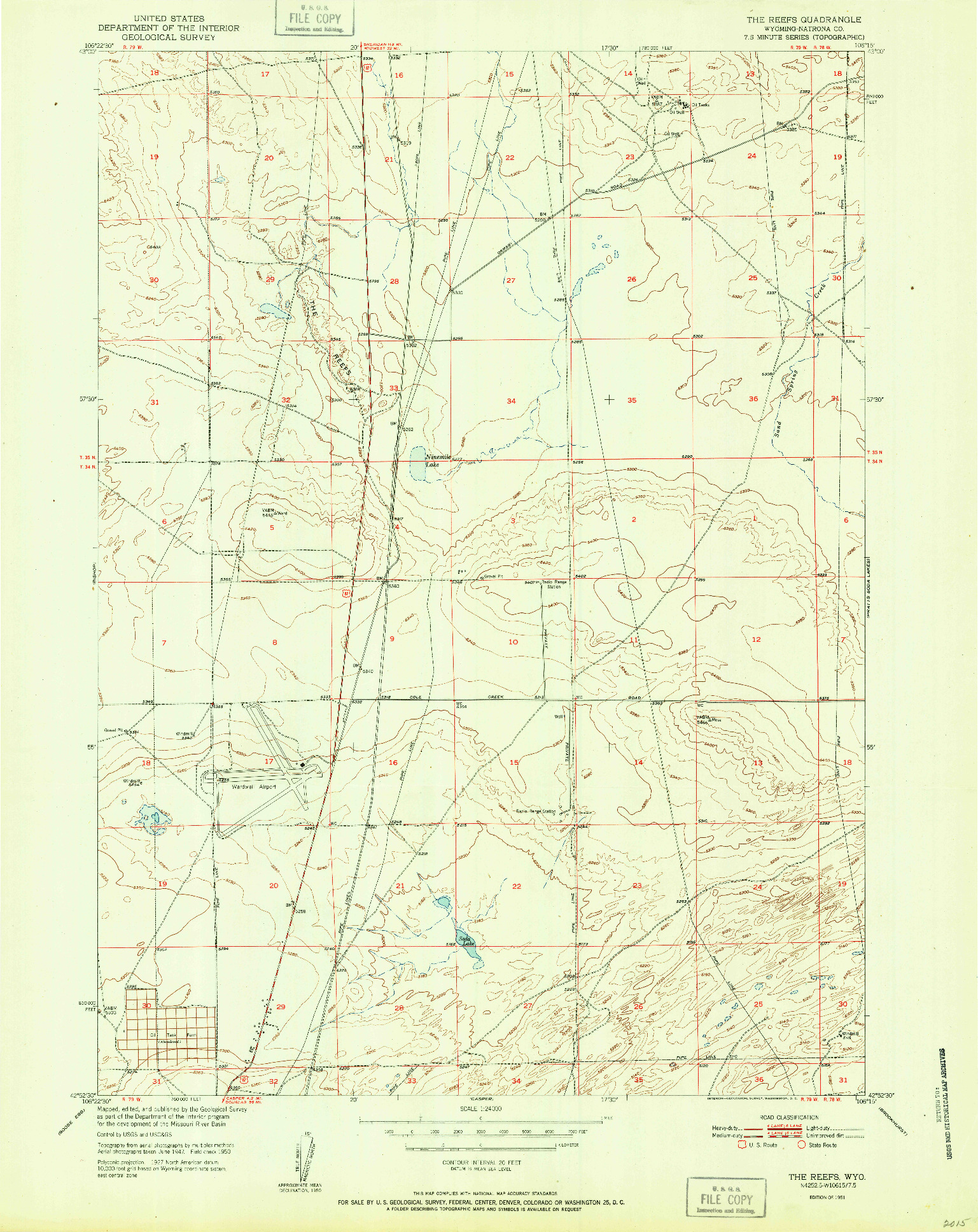 USGS 1:24000-SCALE QUADRANGLE FOR THE REEFS, WY 1951