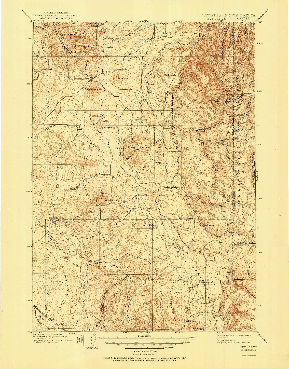 USGS 1:125000-SCALE QUADRANGLE FOR SUNDANCE, WY 1902