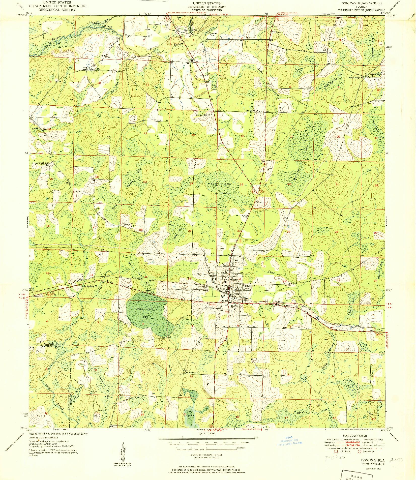 USGS 1:24000-SCALE QUADRANGLE FOR BONIFAY, FL 1951