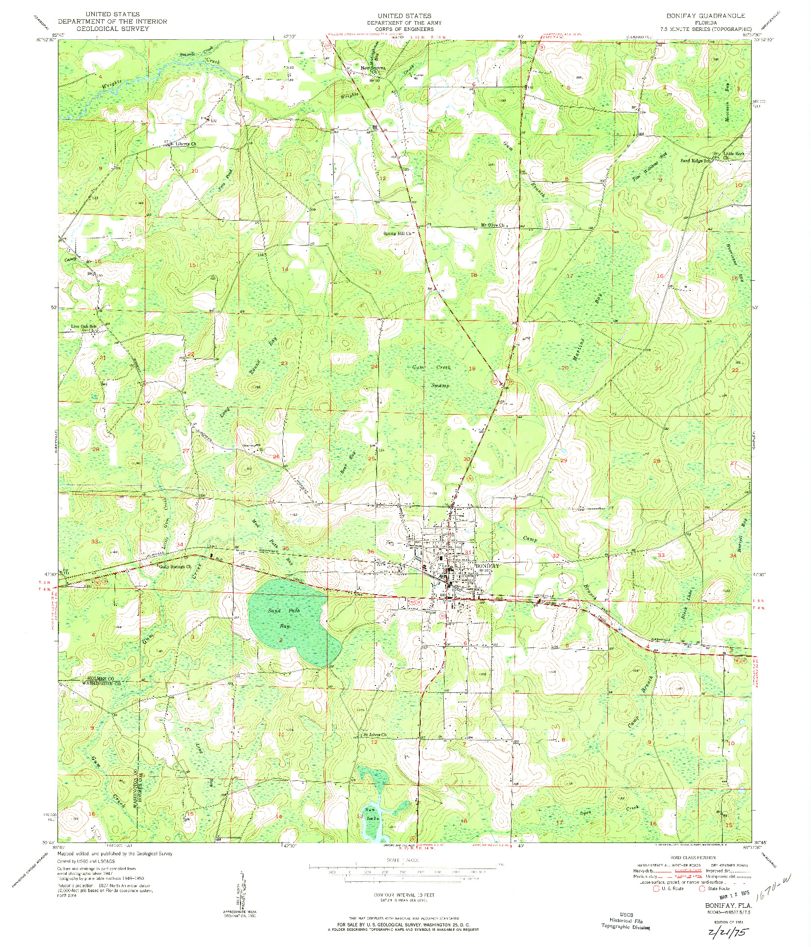 USGS 1:24000-SCALE QUADRANGLE FOR BONIFAY, FL 1951