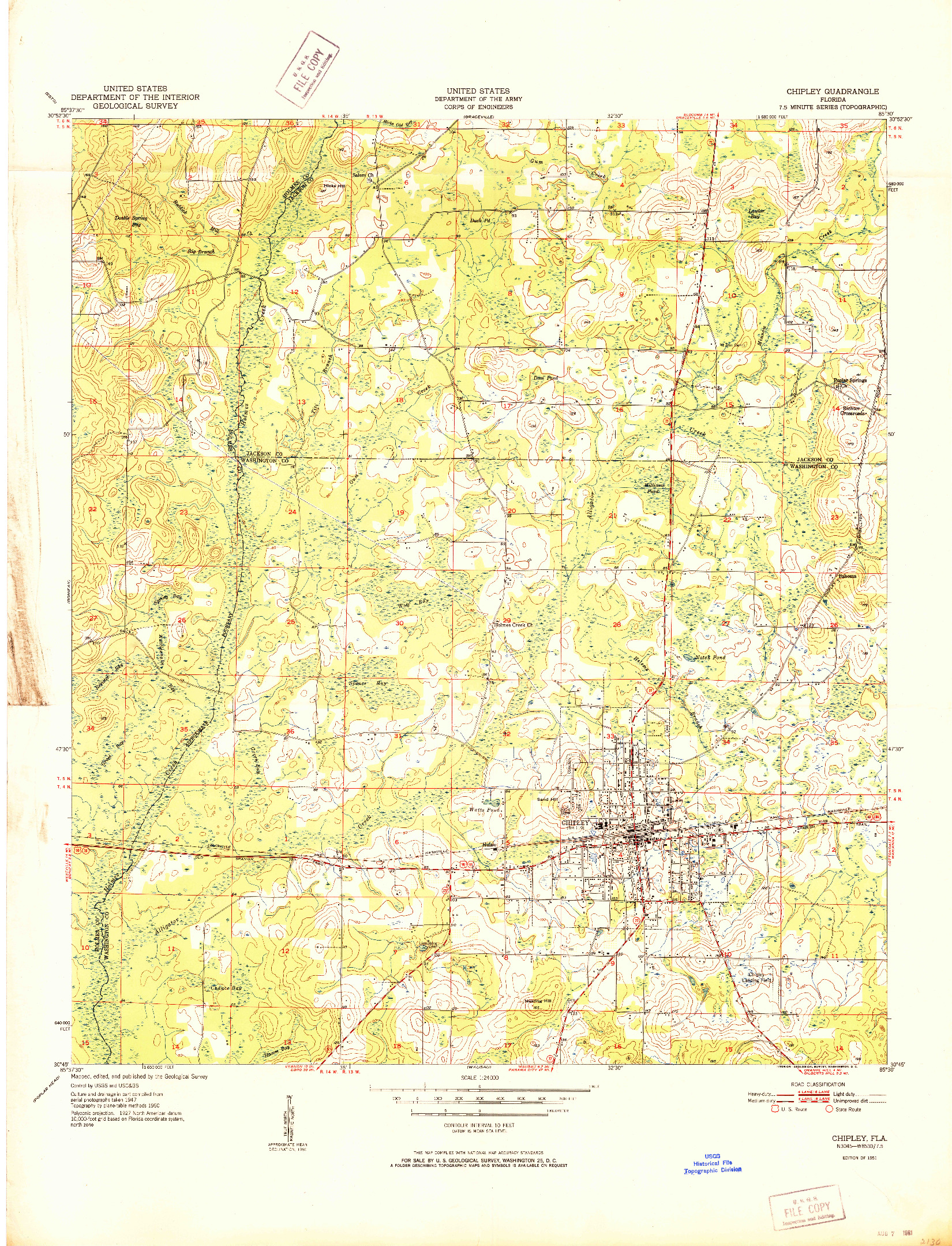 USGS 1:24000-SCALE QUADRANGLE FOR CHIPLEY, FL 1951