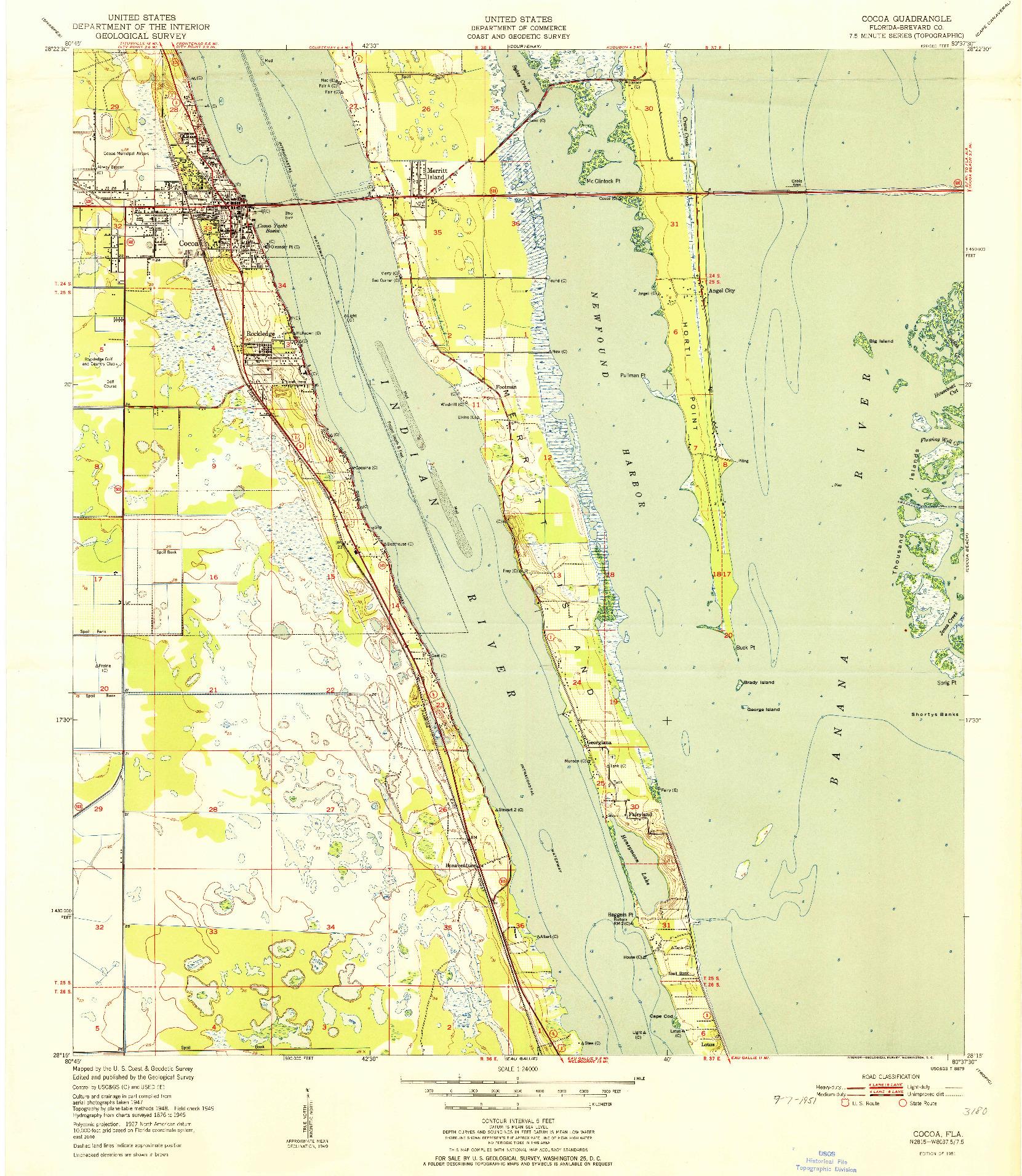 USGS 1:24000-SCALE QUADRANGLE FOR COCOA, FL 1951