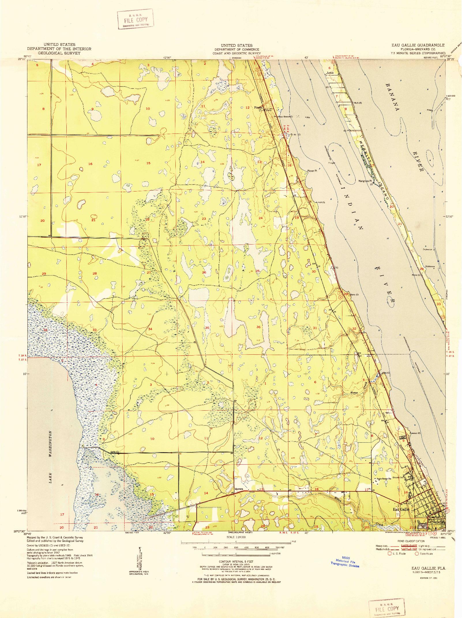 USGS 1:24000-SCALE QUADRANGLE FOR EAU GALLIE, FL 1951