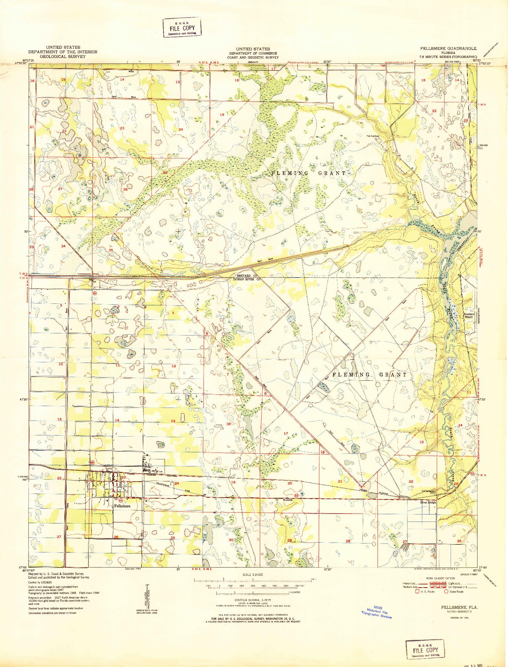 USGS 1:24000-SCALE QUADRANGLE FOR FELLSMERE, FL 1951