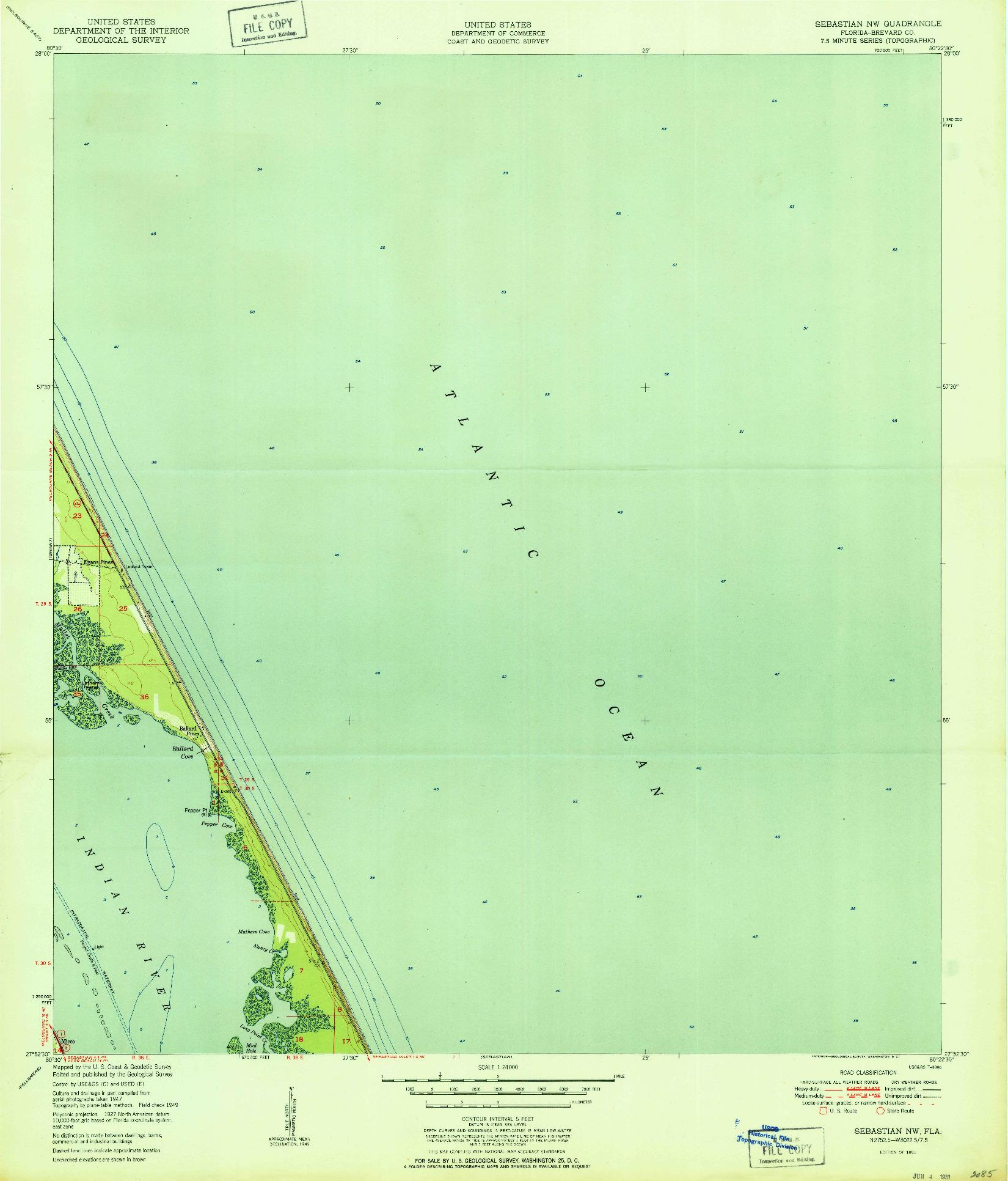 USGS 1:24000-SCALE QUADRANGLE FOR SEBASTIAN NW, FL 1951
