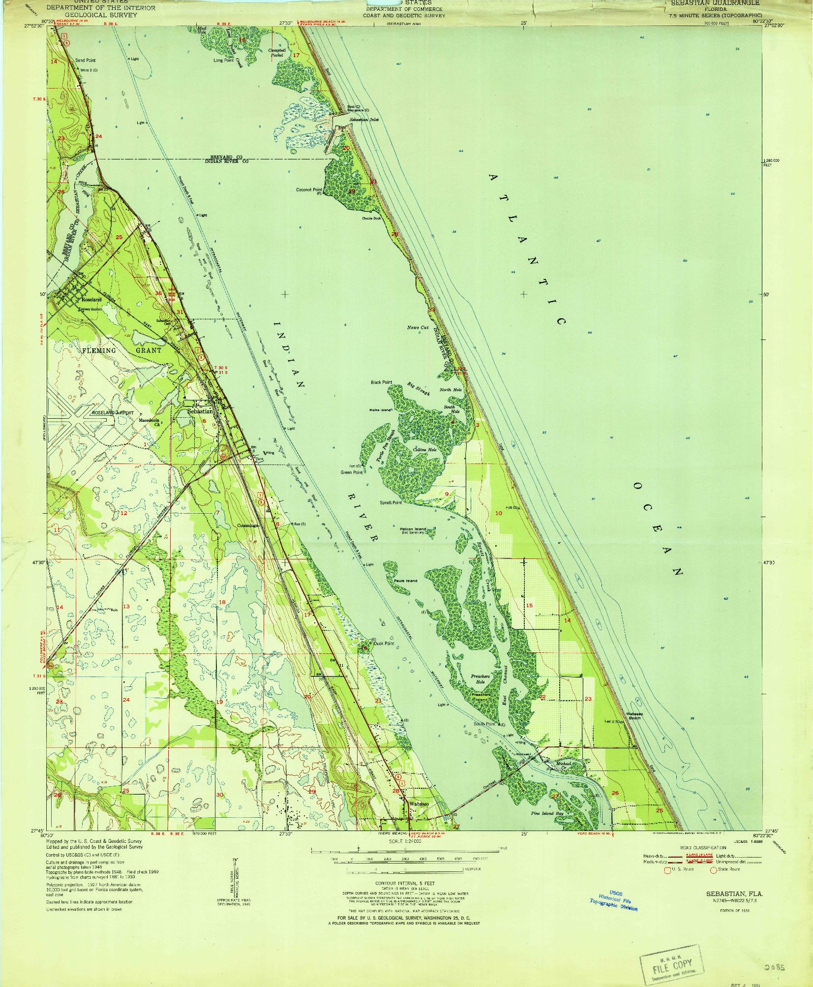 USGS 1:24000-SCALE QUADRANGLE FOR SEBASTIAN, FL 1951