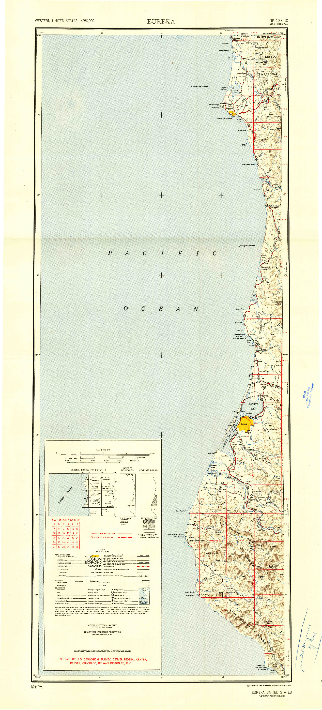 USGS 1:250000-SCALE QUADRANGLE FOR EUREKA, CA 1949