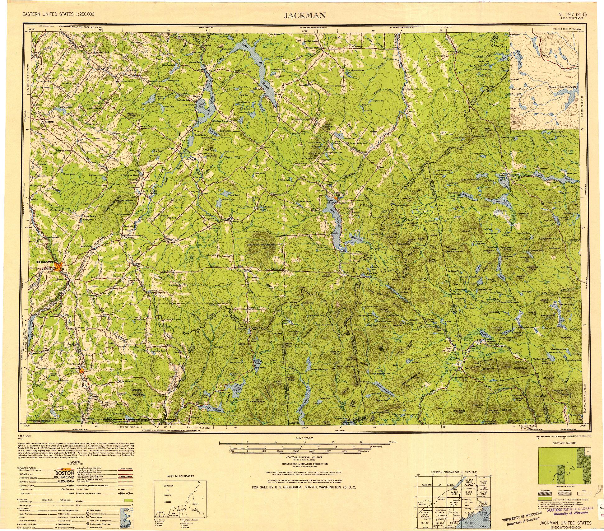 USGS 1:250000-SCALE QUADRANGLE FOR JACKMAN, ME 1949