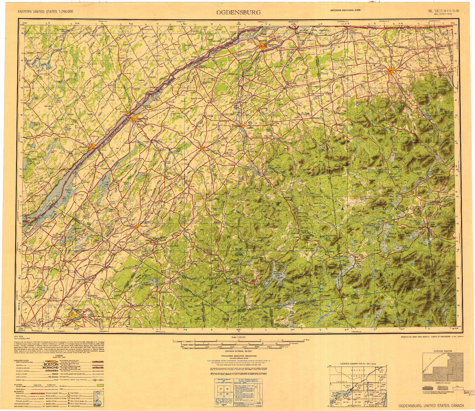 USGS 1:250000-SCALE QUADRANGLE FOR OGDENSBURG, NY 1951