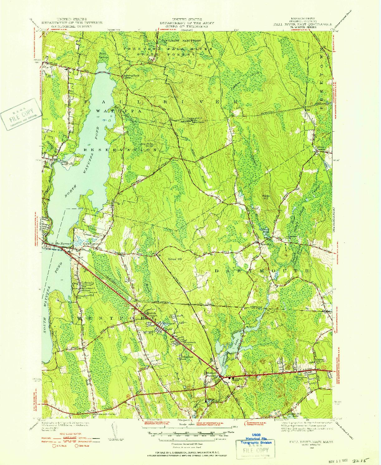 USGS 1:31680-SCALE QUADRANGLE FOR FALL RIVER EAST, MA 1951
