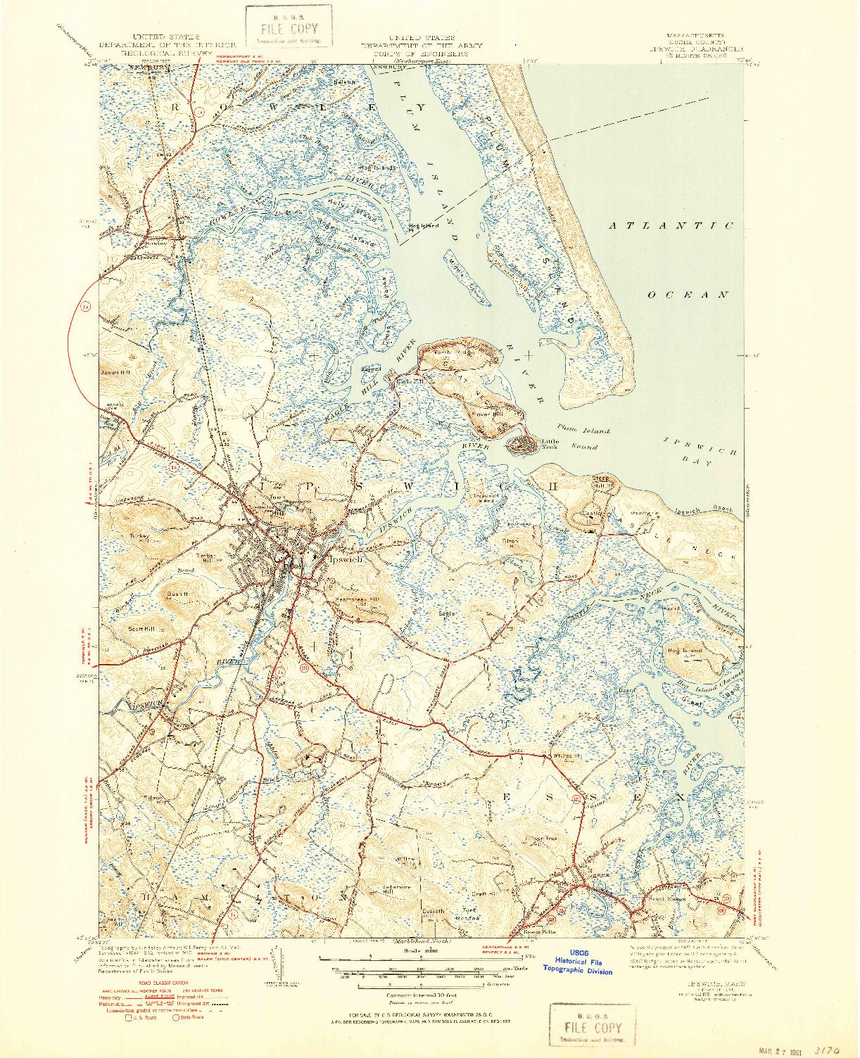 USGS 1:31680-SCALE QUADRANGLE FOR IPSWICH, MA 1945