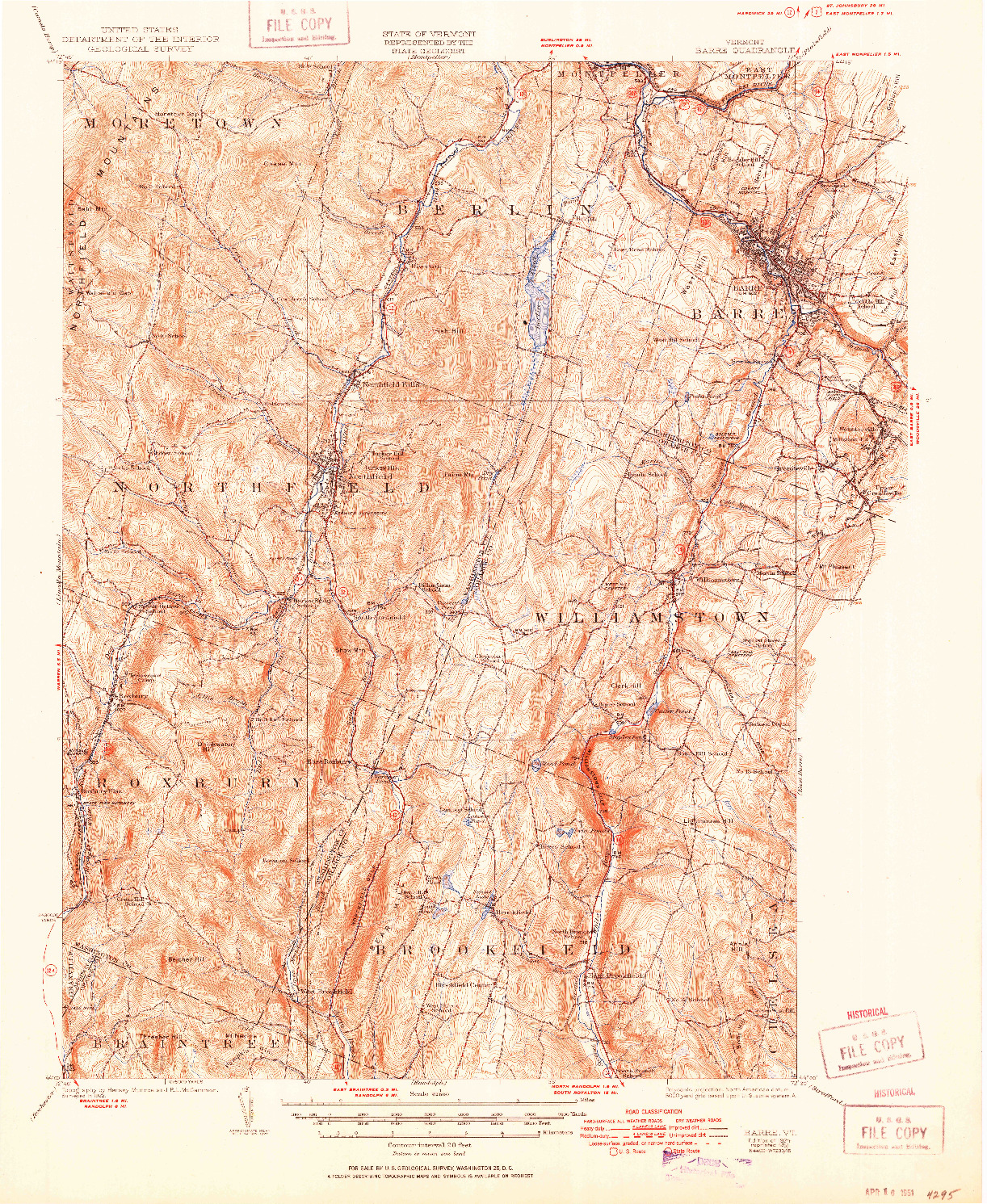 USGS 1:62500-SCALE QUADRANGLE FOR BARRE, VT 1924