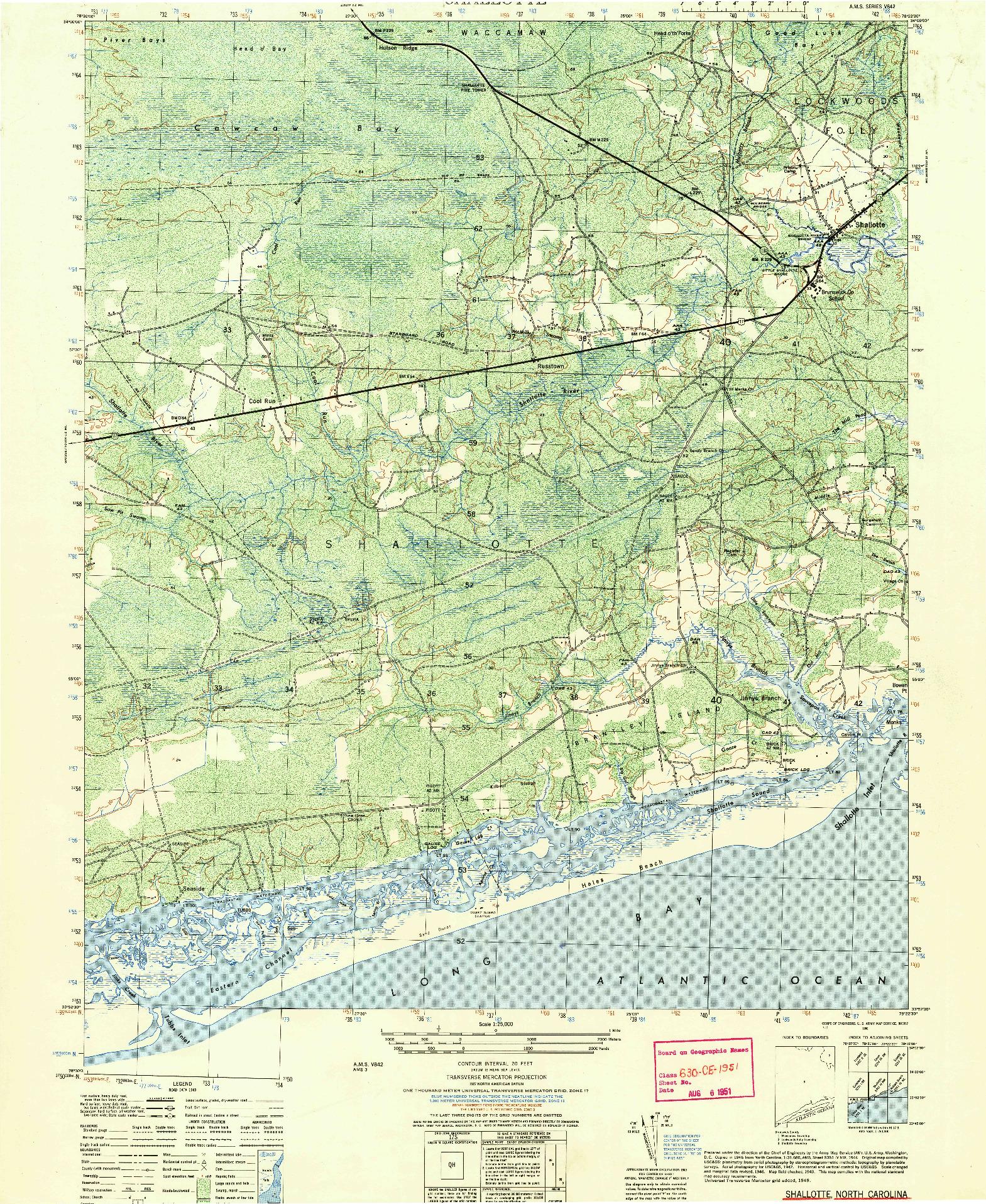 USGS 1:25000-SCALE QUADRANGLE FOR SHALLOTTE, NC 1950