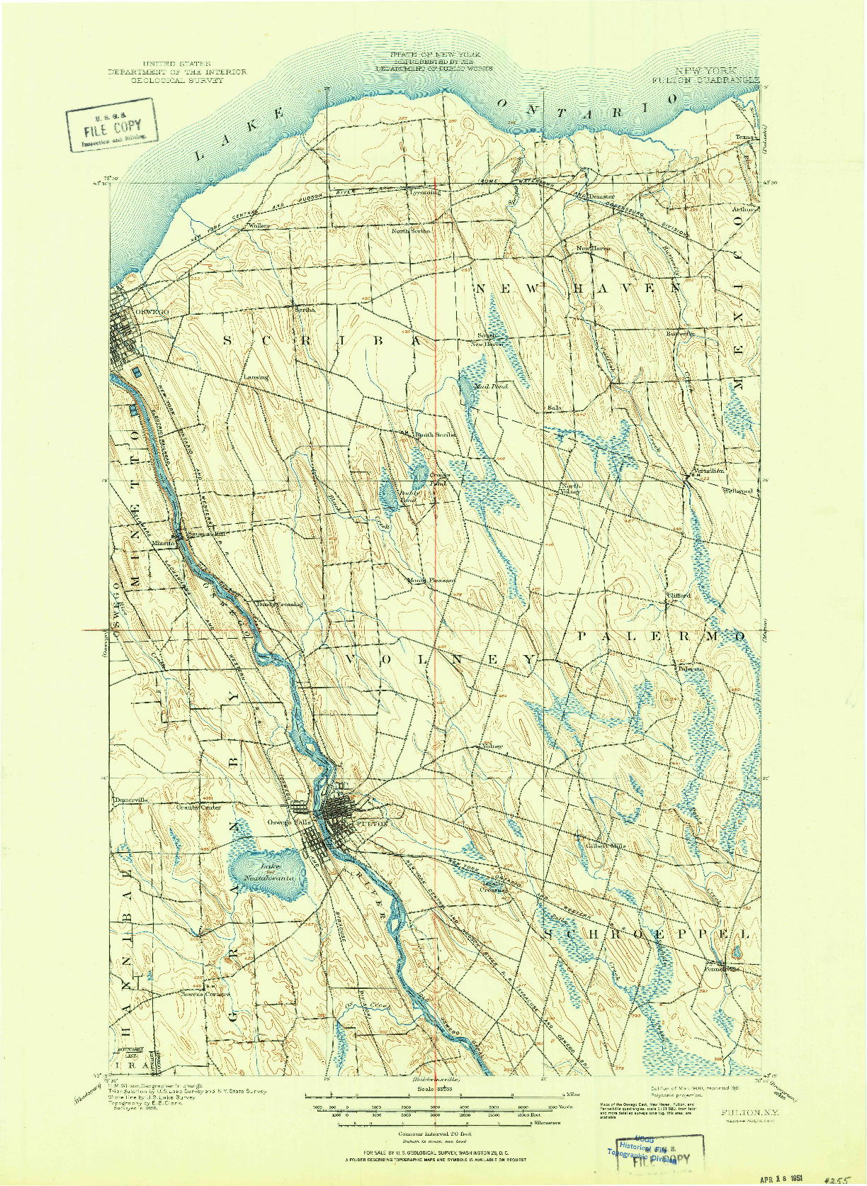 USGS 1:62500-SCALE QUADRANGLE FOR FULTON, NY 1900