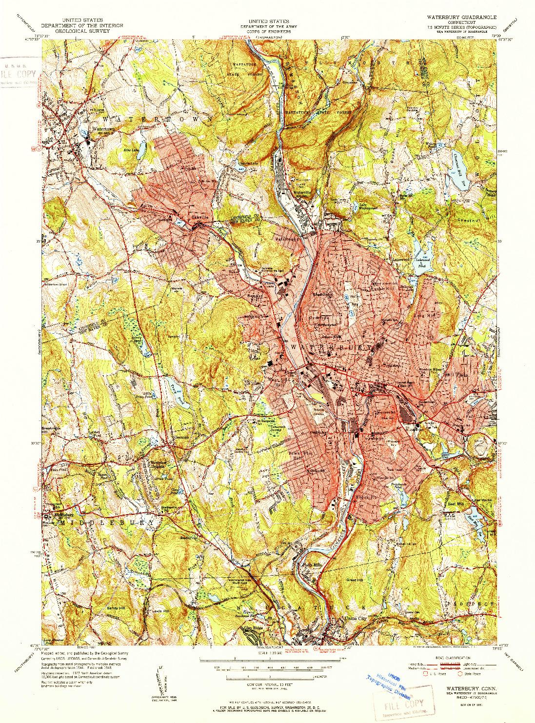 USGS 1:31680-SCALE QUADRANGLE FOR WATERBURY, CT 1951