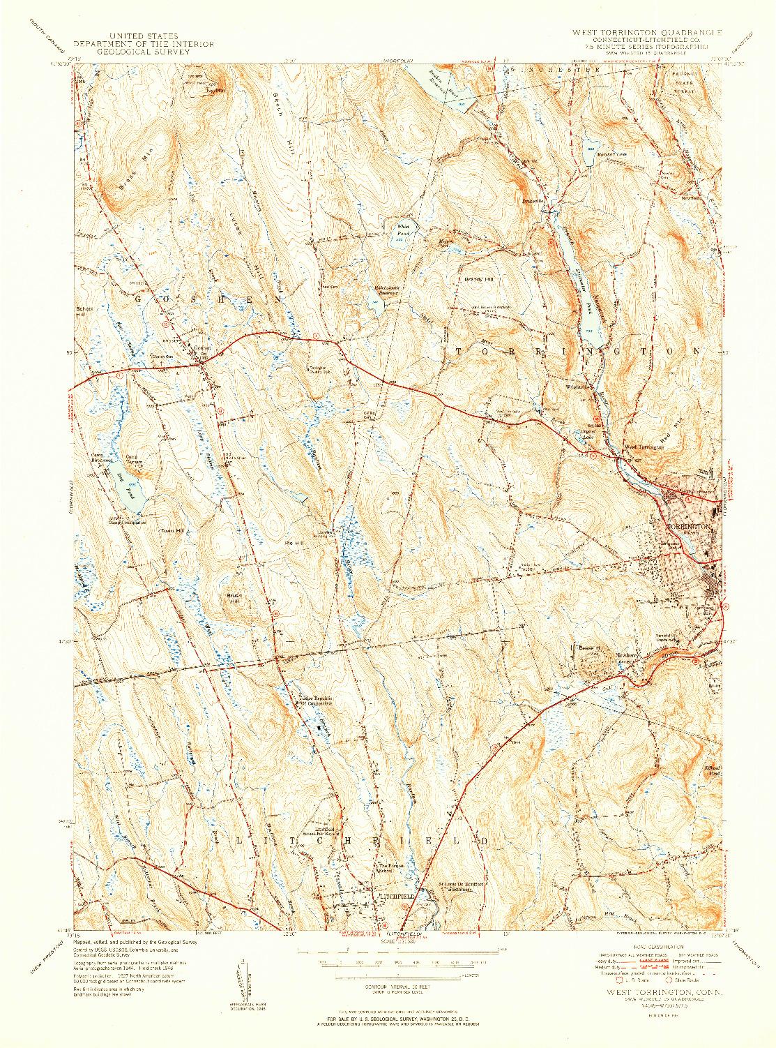 USGS 1:31680-SCALE QUADRANGLE FOR WEST TORRINGTON, CT 1951