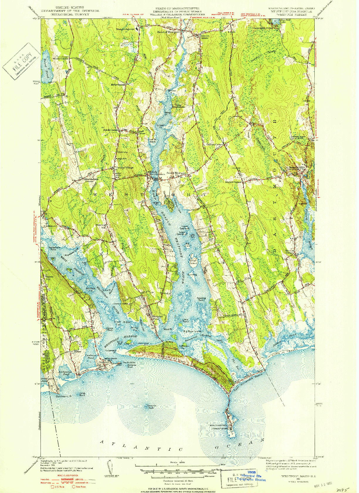 USGS 1:31680-SCALE QUADRANGLE FOR WESTPORT, MA 1951