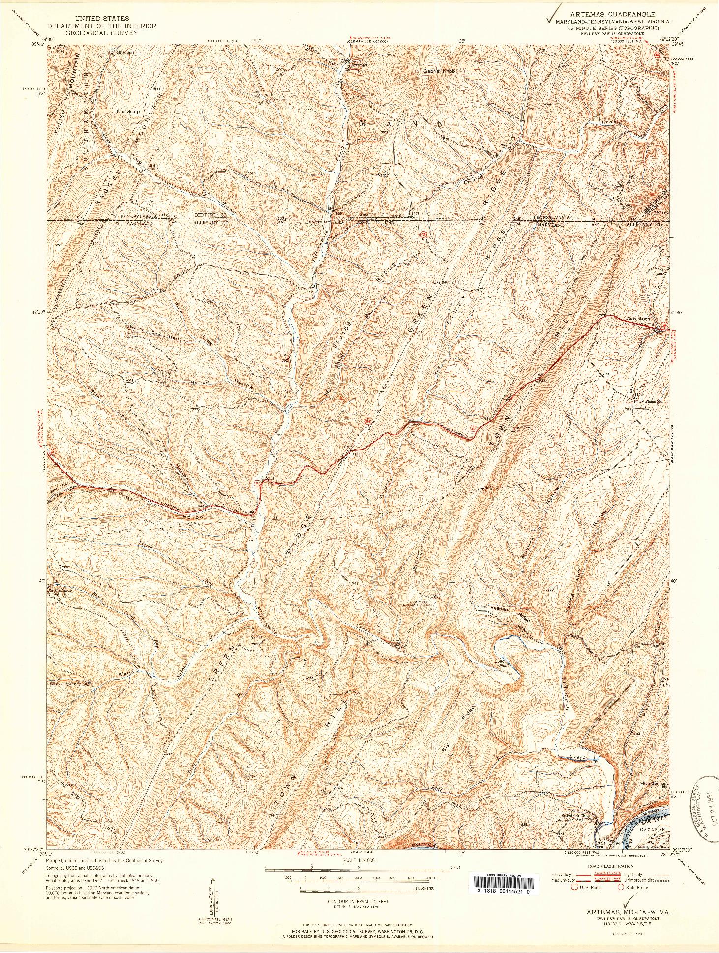USGS 1:24000-SCALE QUADRANGLE FOR ARTEMAS, MD 1951
