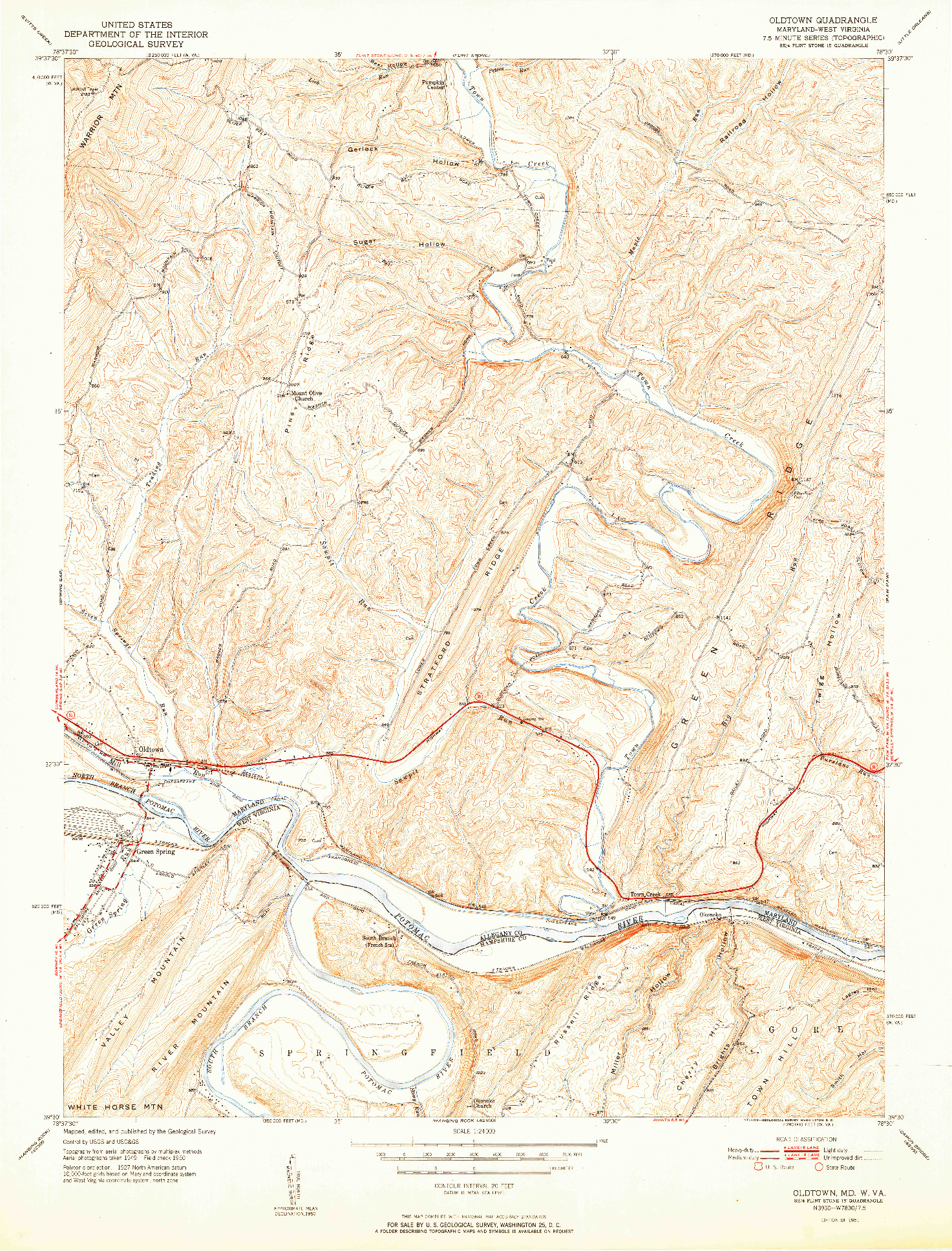 USGS 1:24000-SCALE QUADRANGLE FOR OLDTOWN, MD 1951