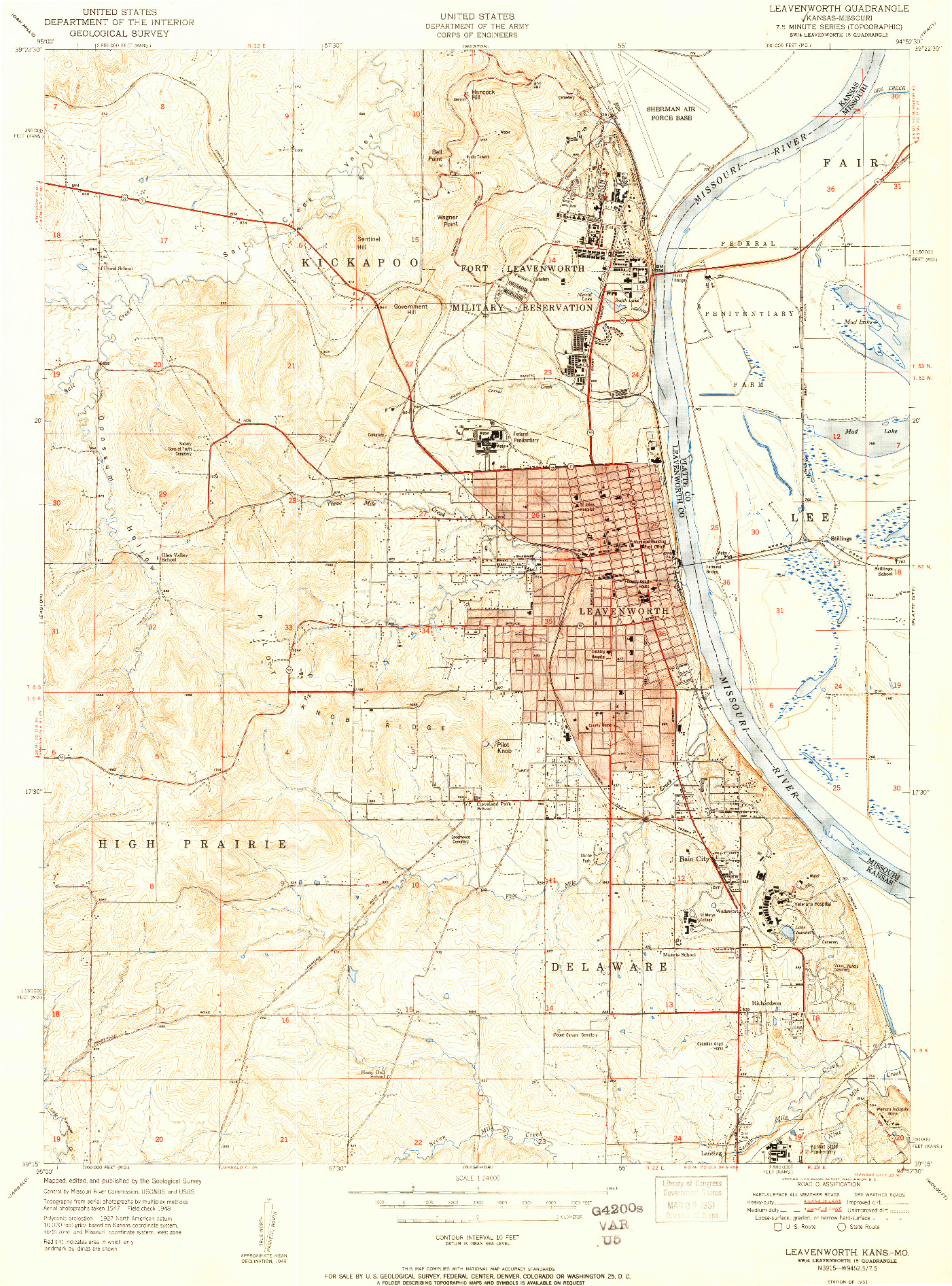 USGS 1:24000-SCALE QUADRANGLE FOR LEAVENWORTH, KS 1951