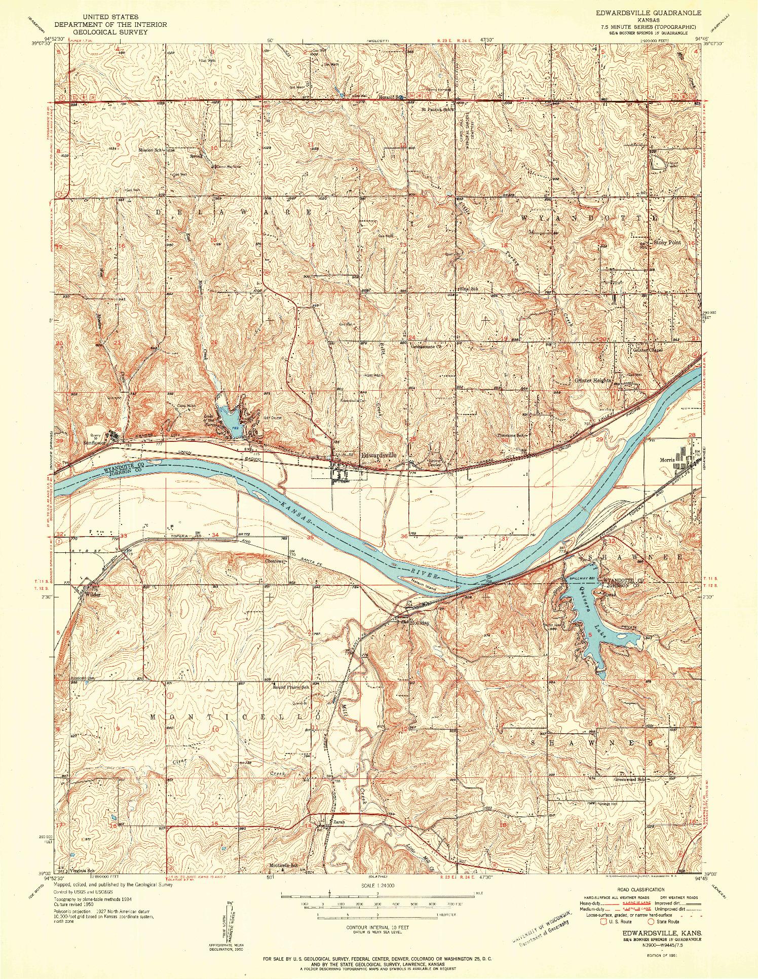 USGS 1:24000-SCALE QUADRANGLE FOR EDWARDSVILLE, KS 1951